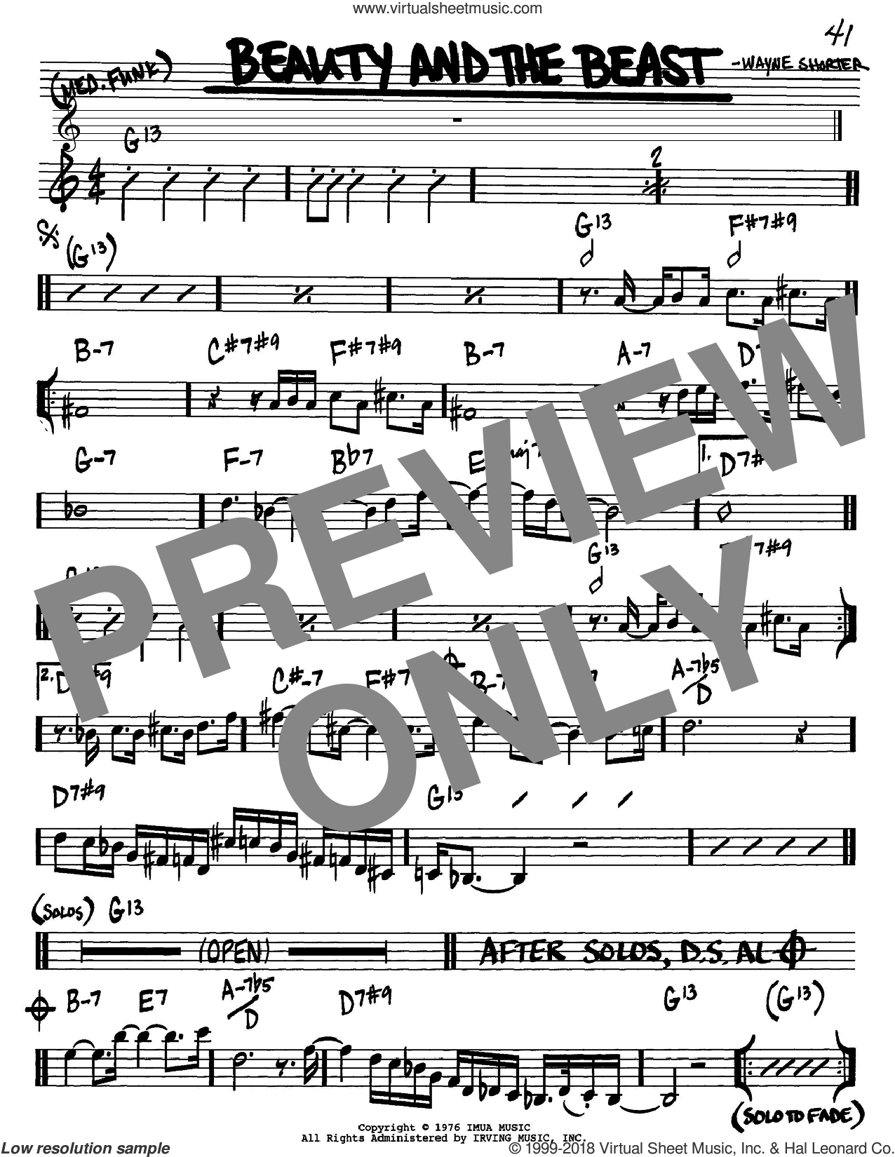 Beauty And The Beast sheet music for voice and other instruments (in Bb) by Wayne Shorter, intermediate. Score Image Preview.