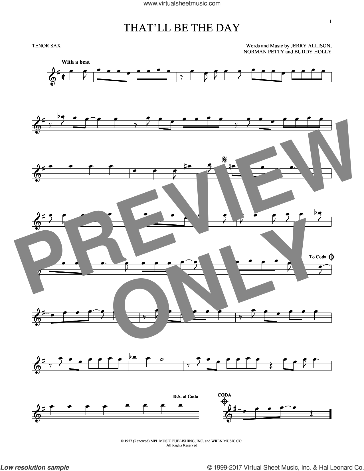 That'll Be The Day sheet music for tenor saxophone solo by The Crickets, Buddy Holly, Jerry Allison and Norman Petty, intermediate skill level