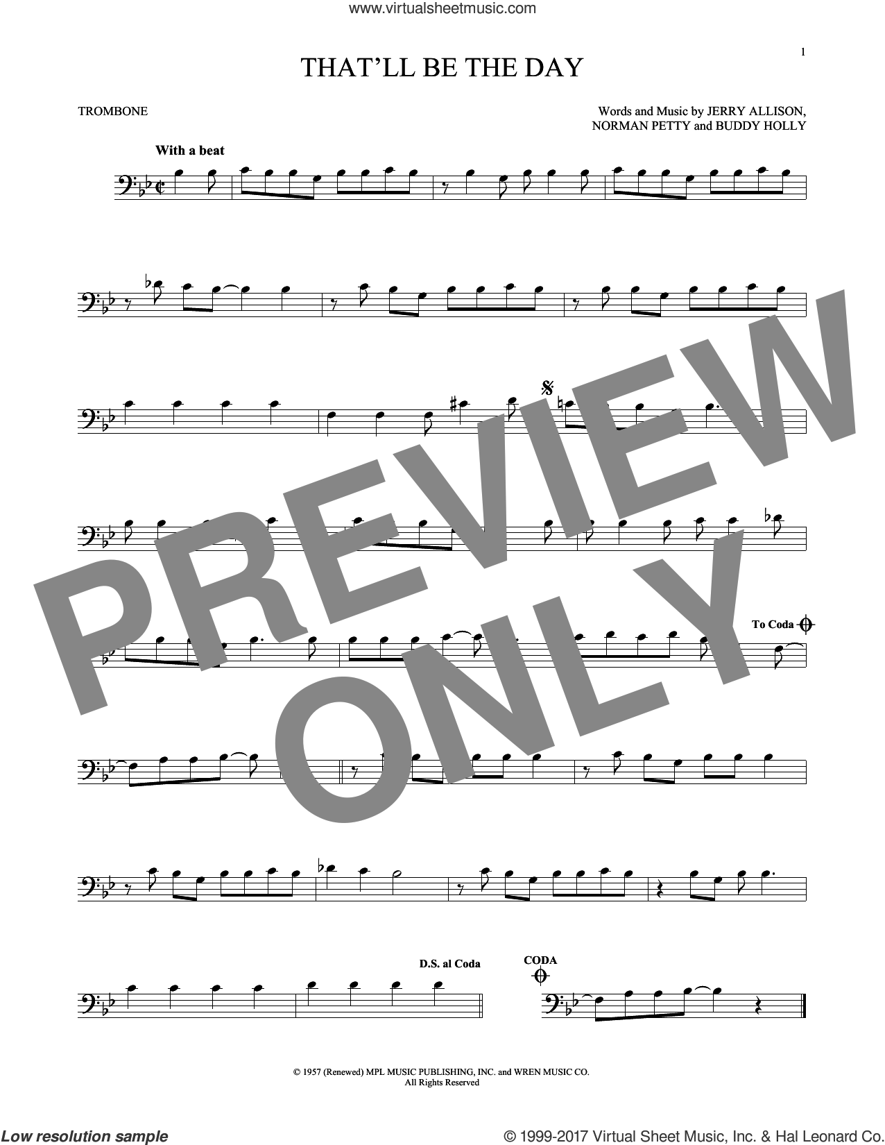 That'll Be The Day sheet music for trombone solo by The Crickets, Buddy Holly, Jerry Allison and Norman Petty, intermediate skill level