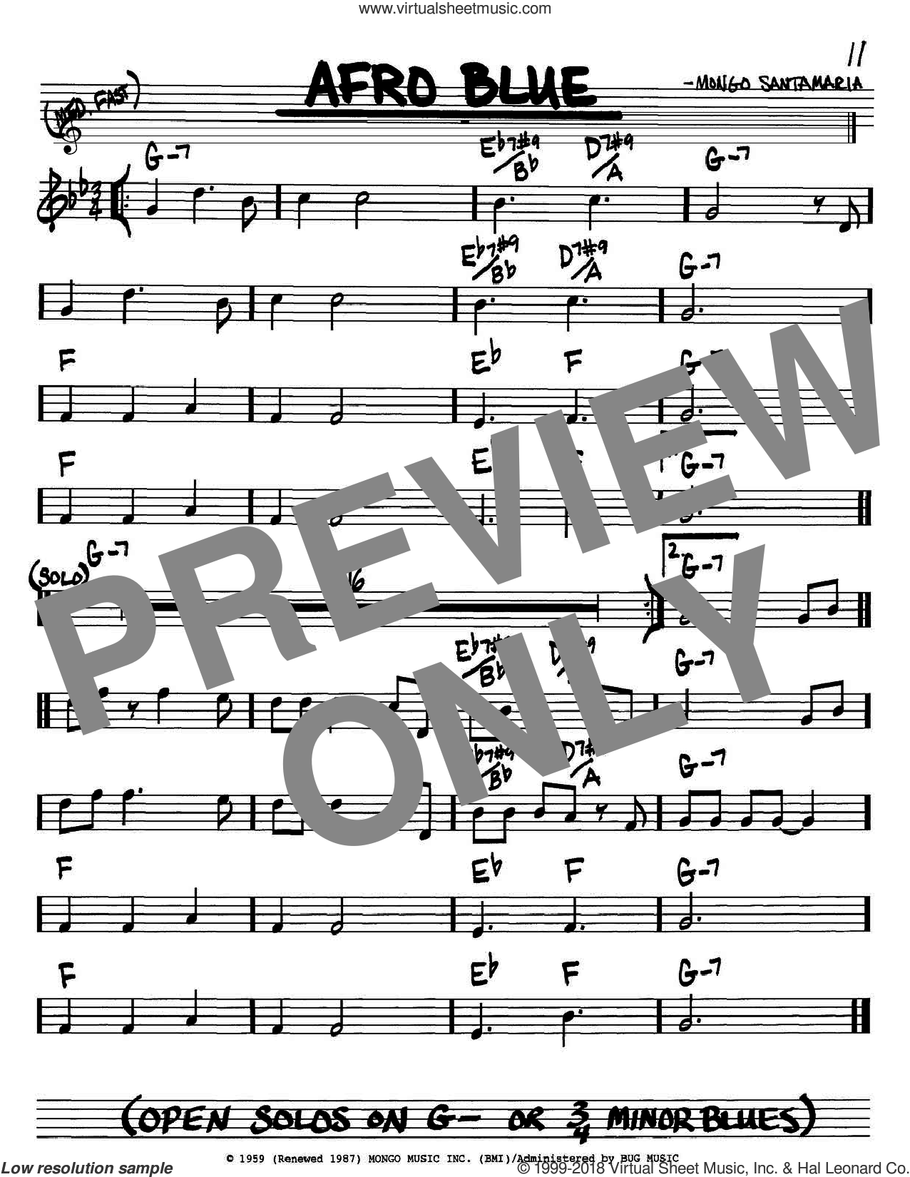 Afro Blue sheet music for voice and other instruments (Bb) by Mongo Santamaria and John Coltrane. Score Image Preview.