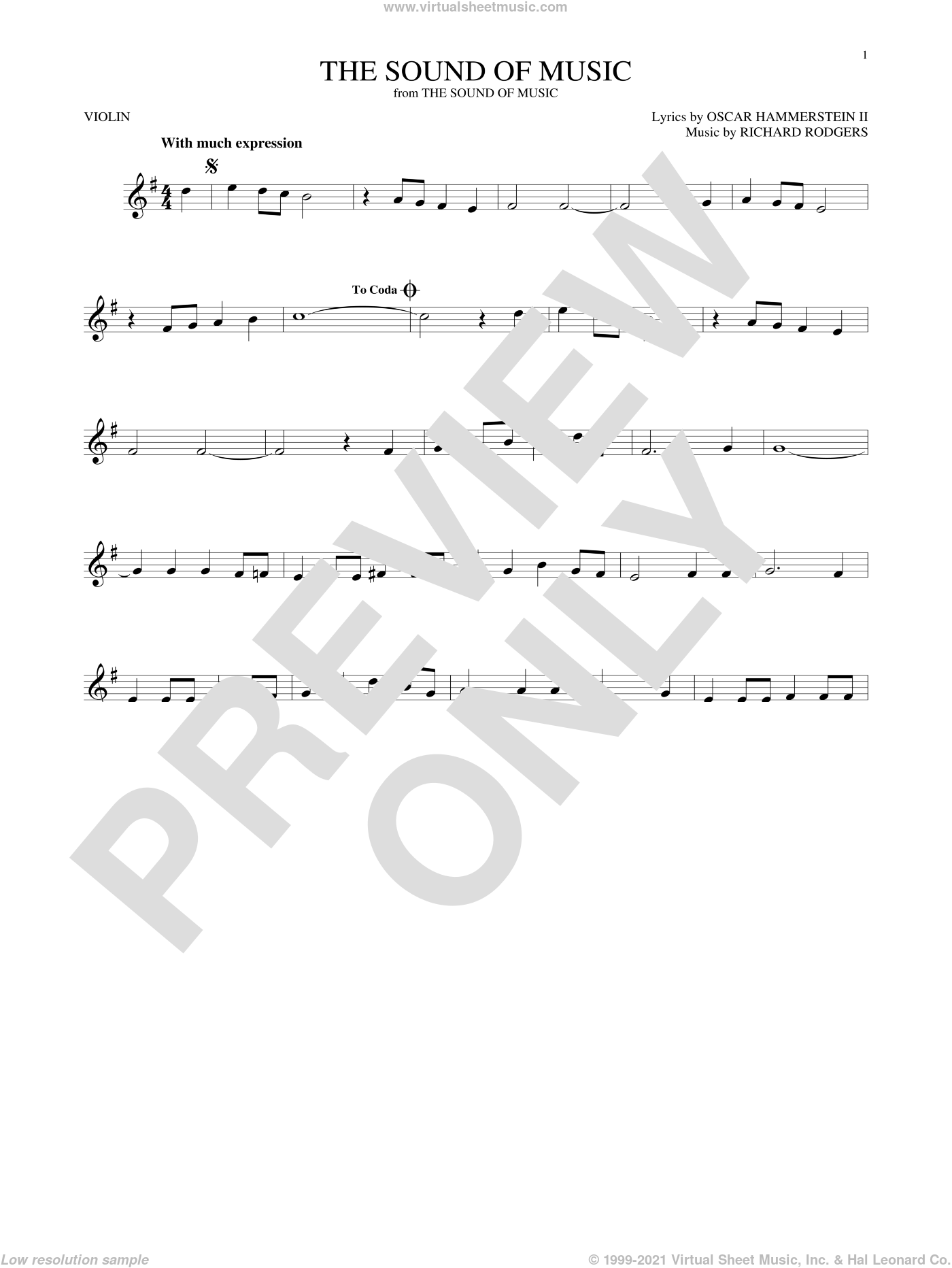 The Sound Of Music sheet music for violin solo by Rodgers & Hammerstein, Oscar II Hammerstein and Richard Rodgers, intermediate skill level