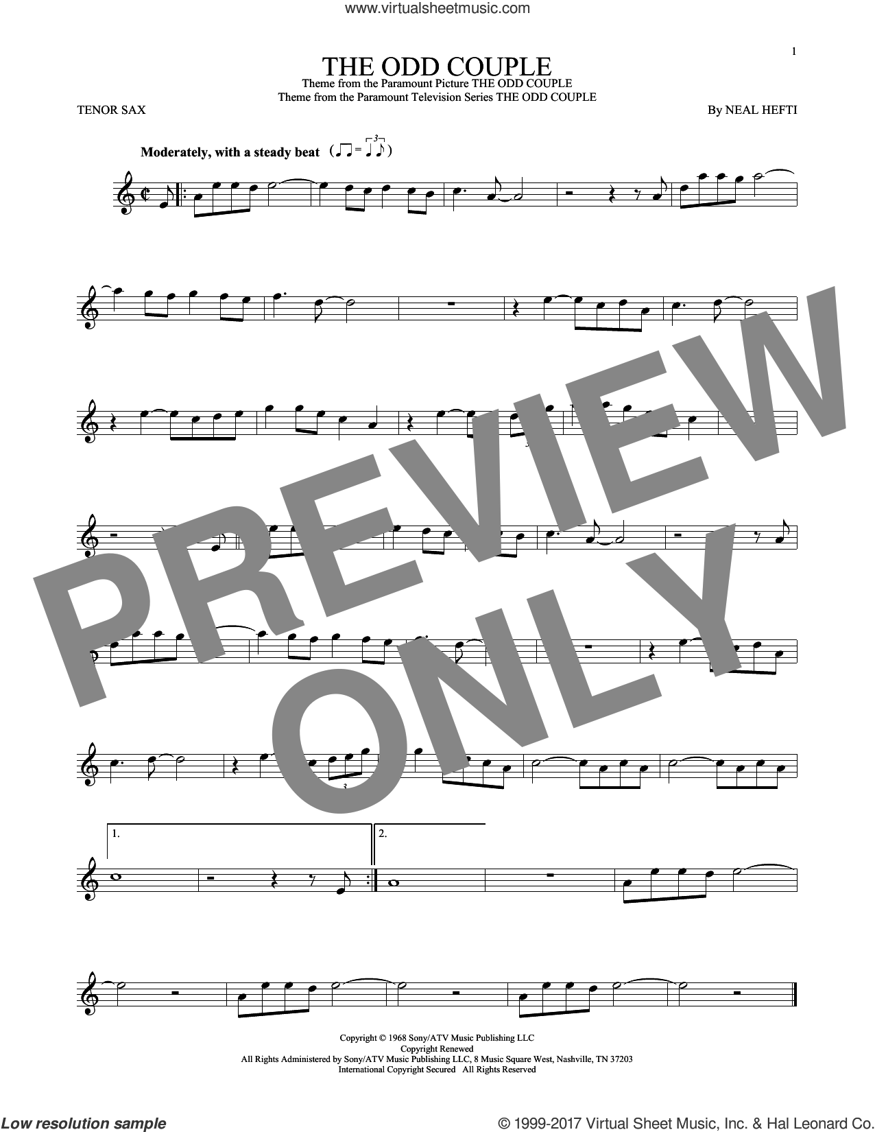 The Odd Couple sheet music for tenor saxophone solo by Sammy Cahn and Neal Hefti. Score Image Preview.