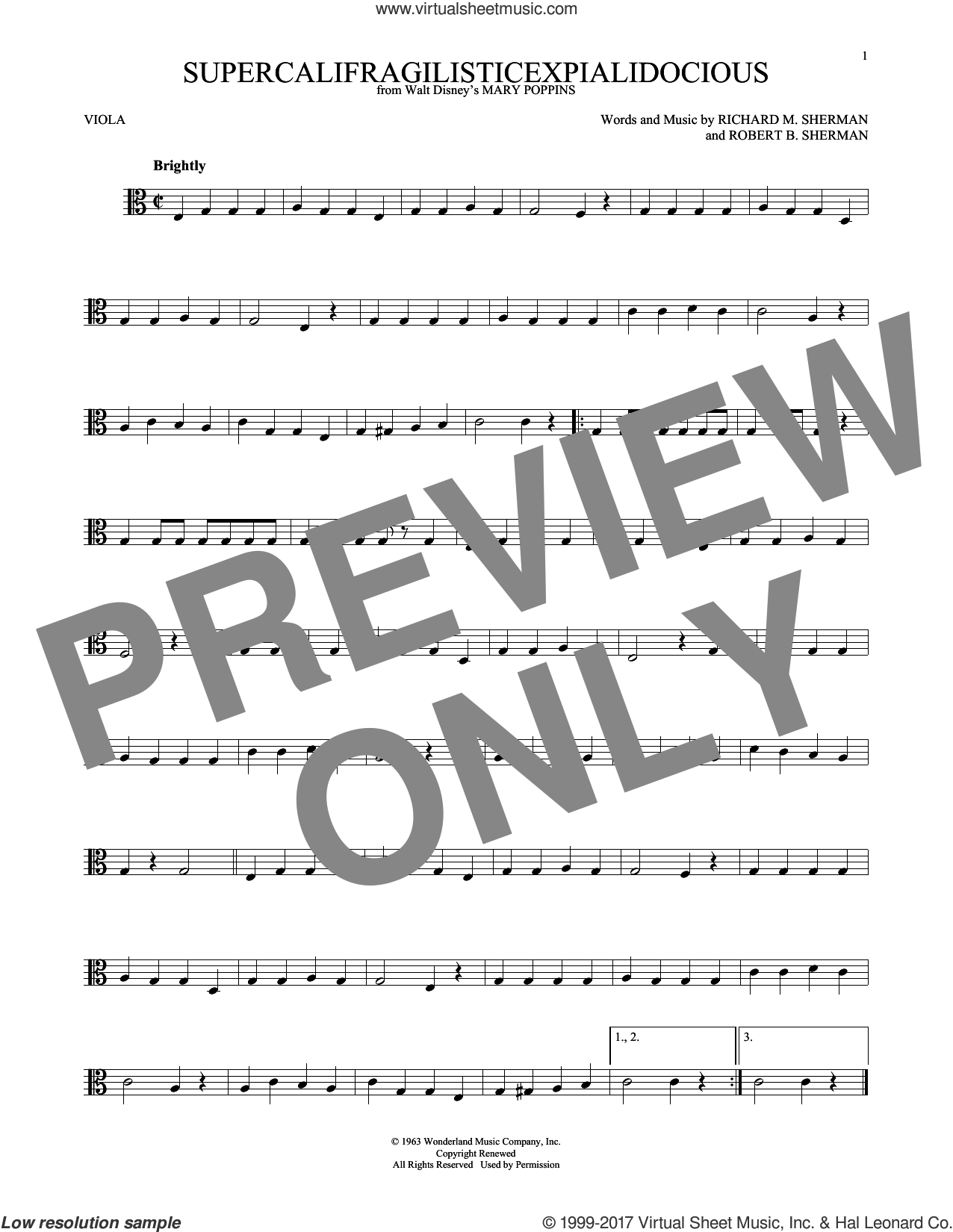 Supercalifragilisticexpialidocious sheet music for viola solo by Robert B. Sherman and Richard M. Sherman, intermediate skill level