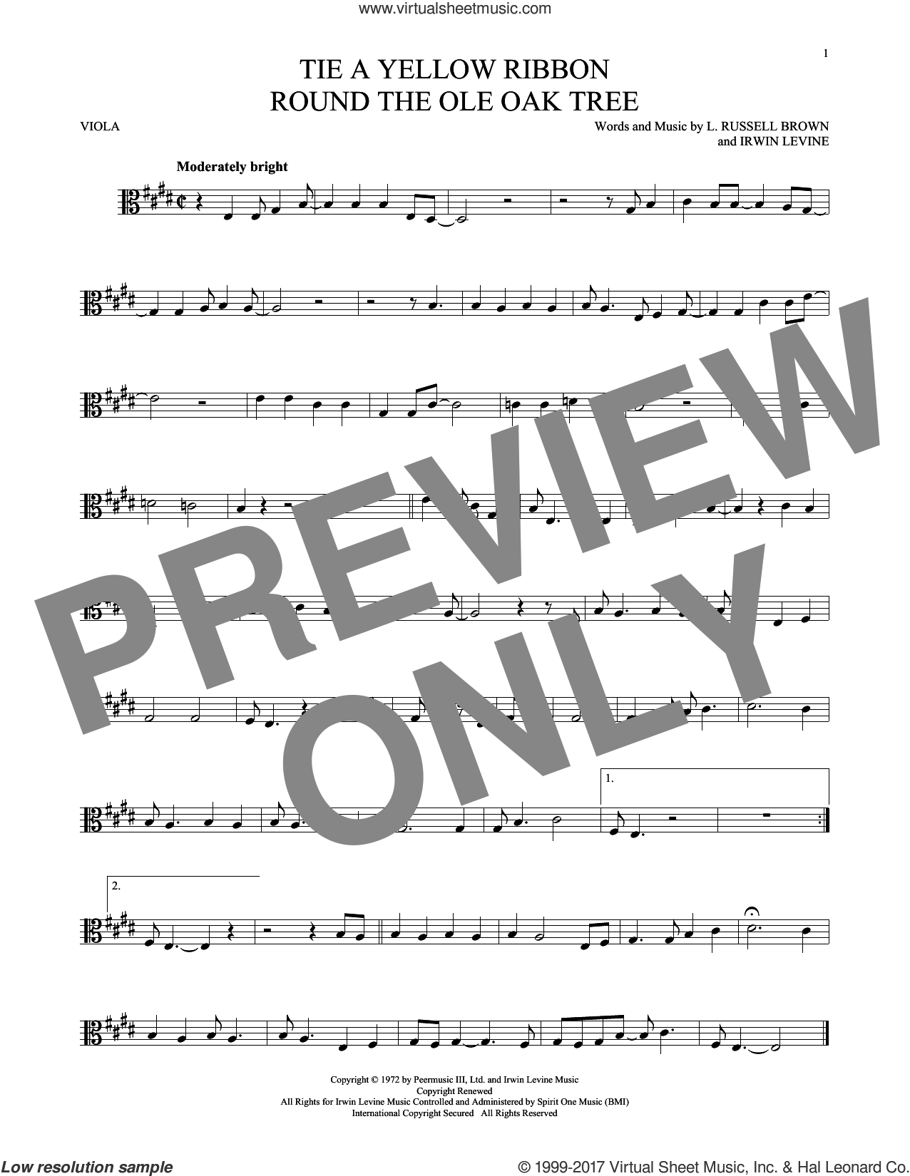Tie A Yellow Ribbon Round The Ole Oak Tree sheet music for viola solo by Dawn featuring Tony Orlando and Irwin Levine. Score Image Preview.