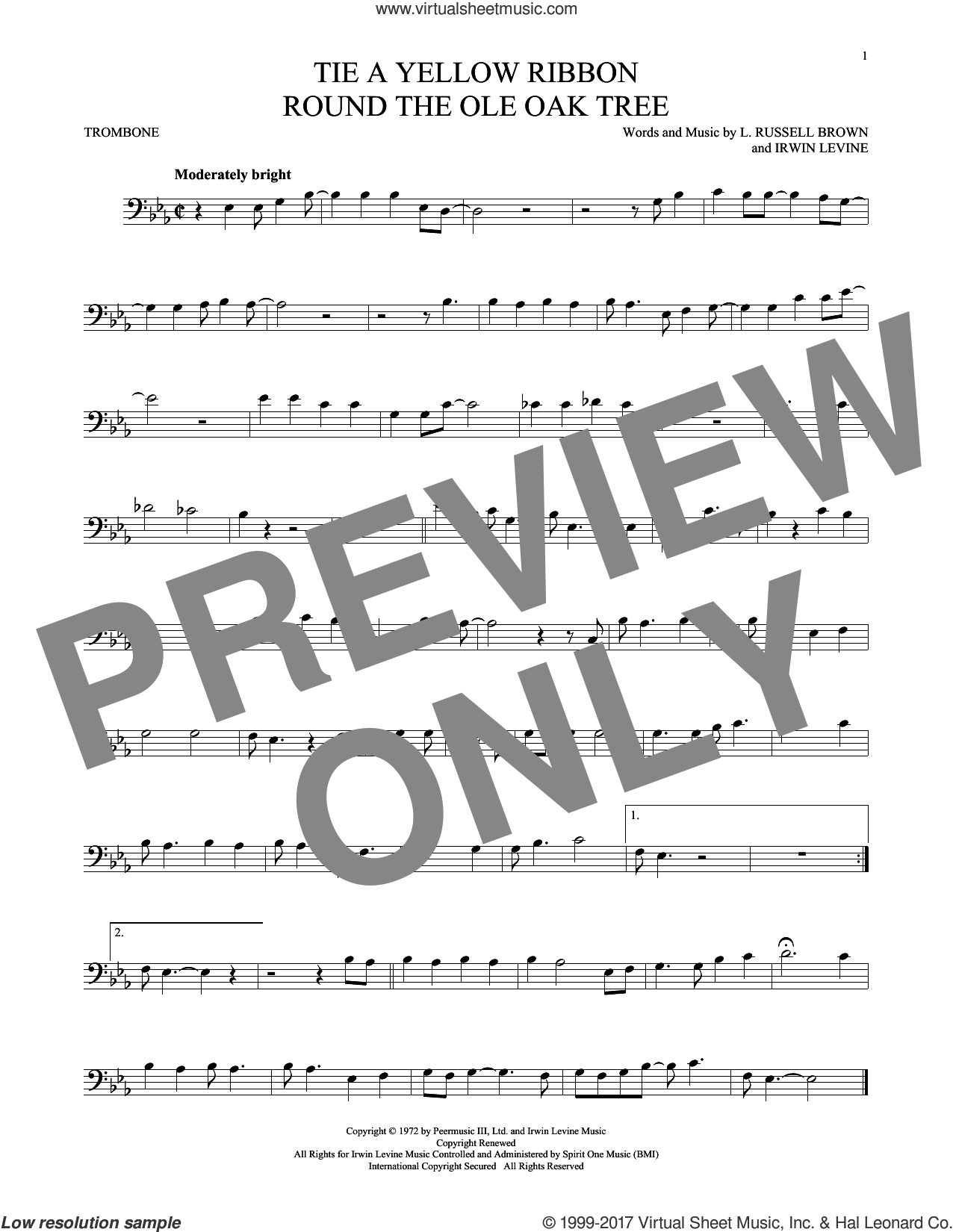 Tie A Yellow Ribbon Round The Ole Oak Tree sheet music for trombone solo by Dawn featuring Tony Orlando, Irwin Levine and L. Russell Brown, intermediate skill level