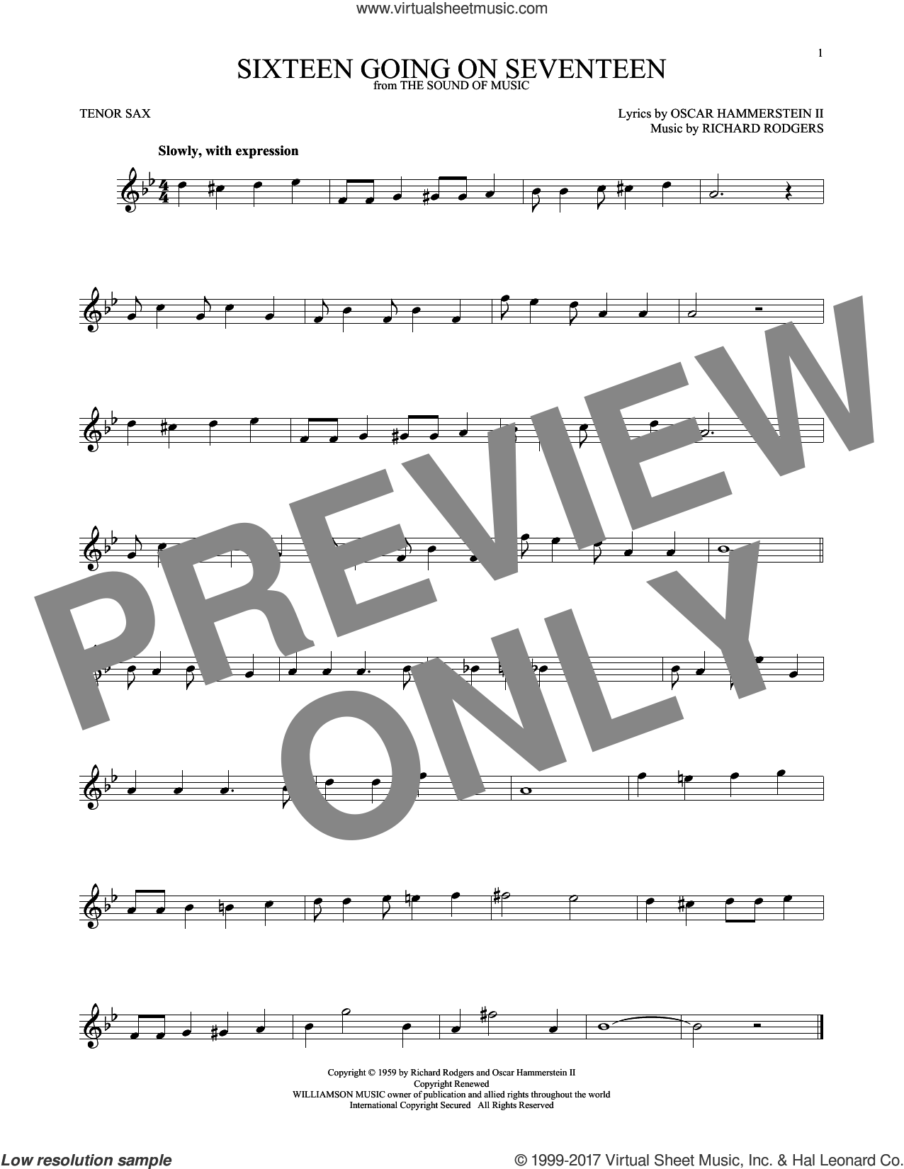 Sixteen Going On Seventeen sheet music for tenor saxophone solo by Rodgers & Hammerstein, Oscar II Hammerstein and Richard Rodgers, intermediate skill level