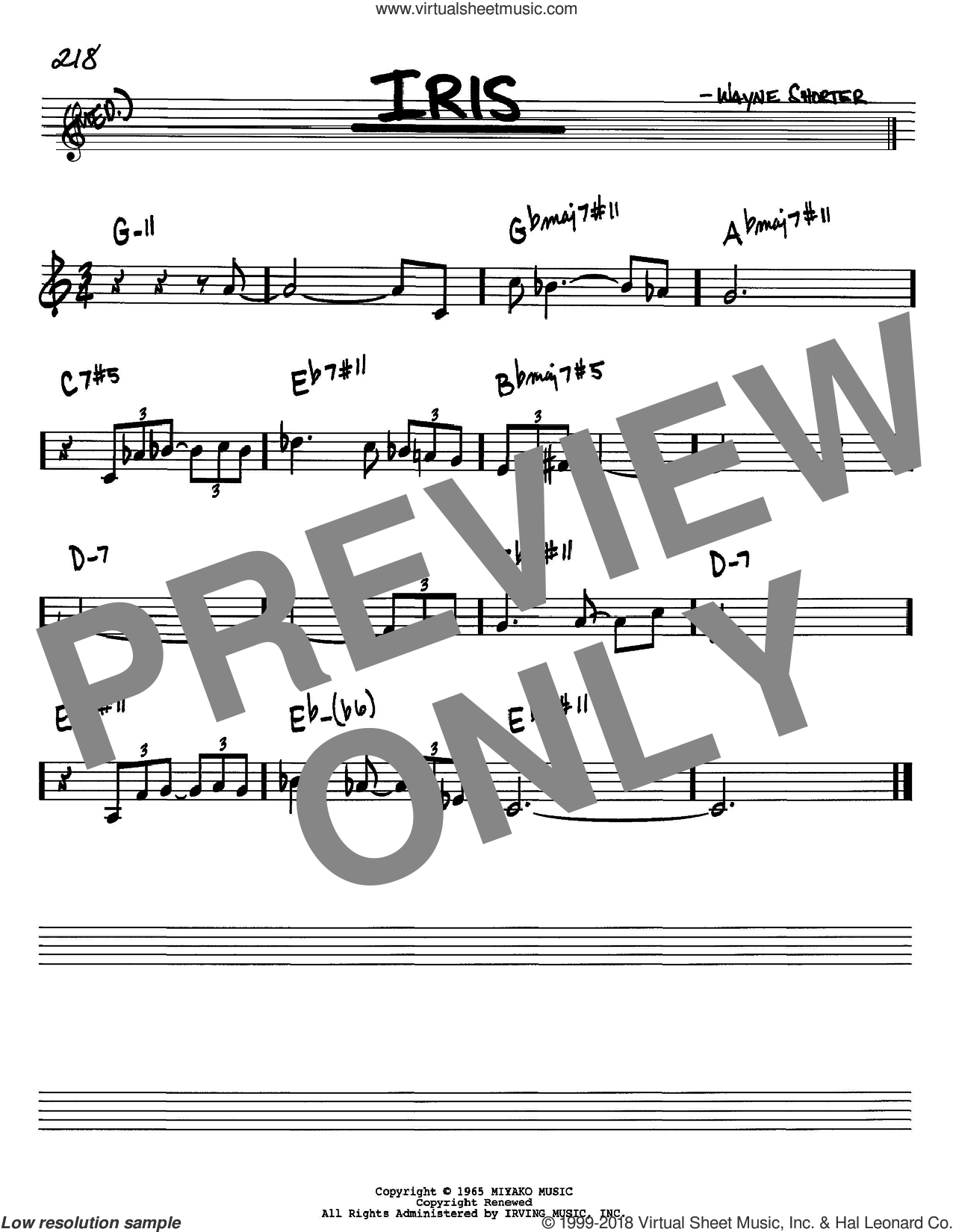 Iris sheet music for voice and other instruments (Bb) by Wayne Shorter. Score Image Preview.