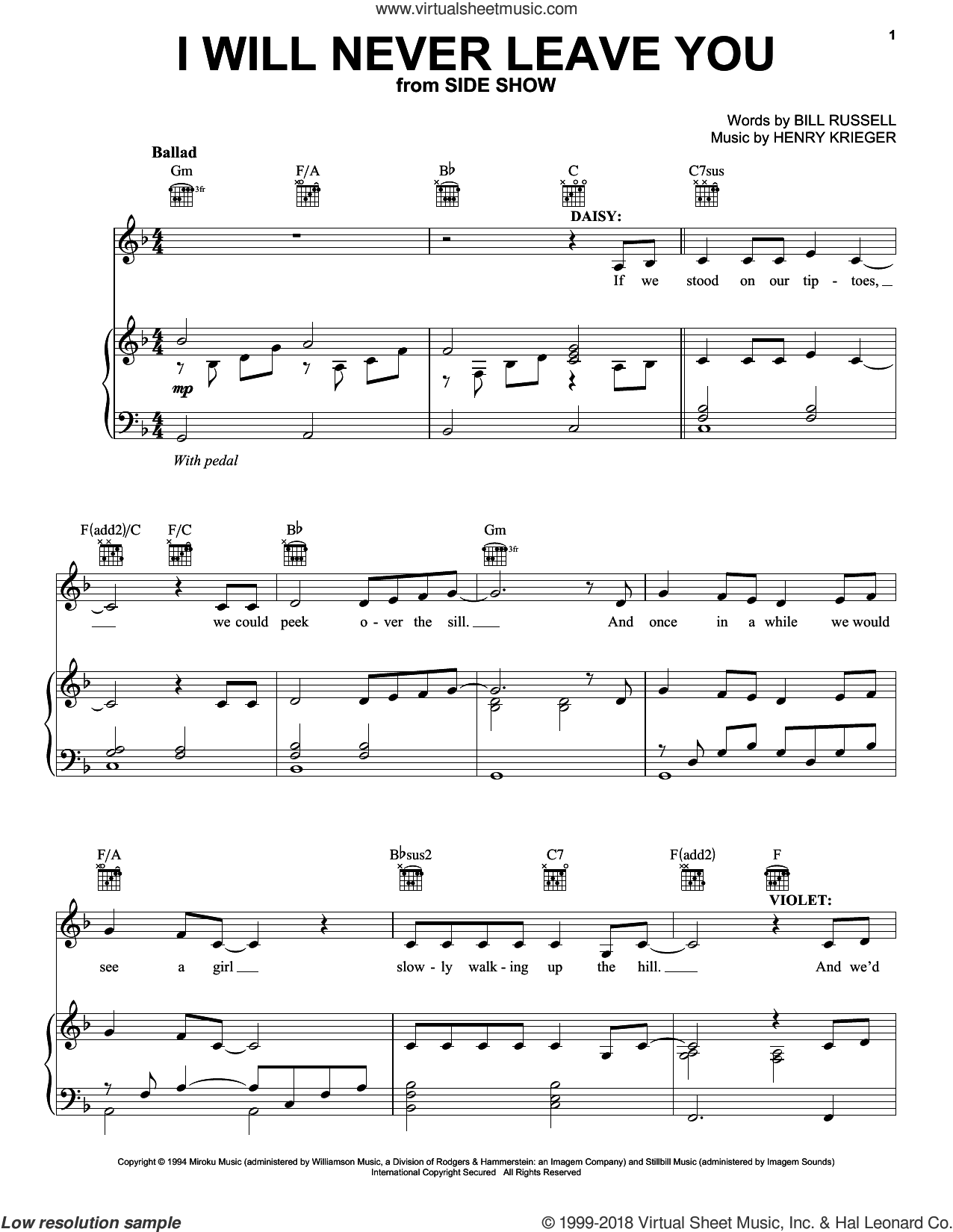 I Will Never Leave You sheet music for voice, piano or guitar by Henry Krieger and Bill Russell, intermediate skill level
