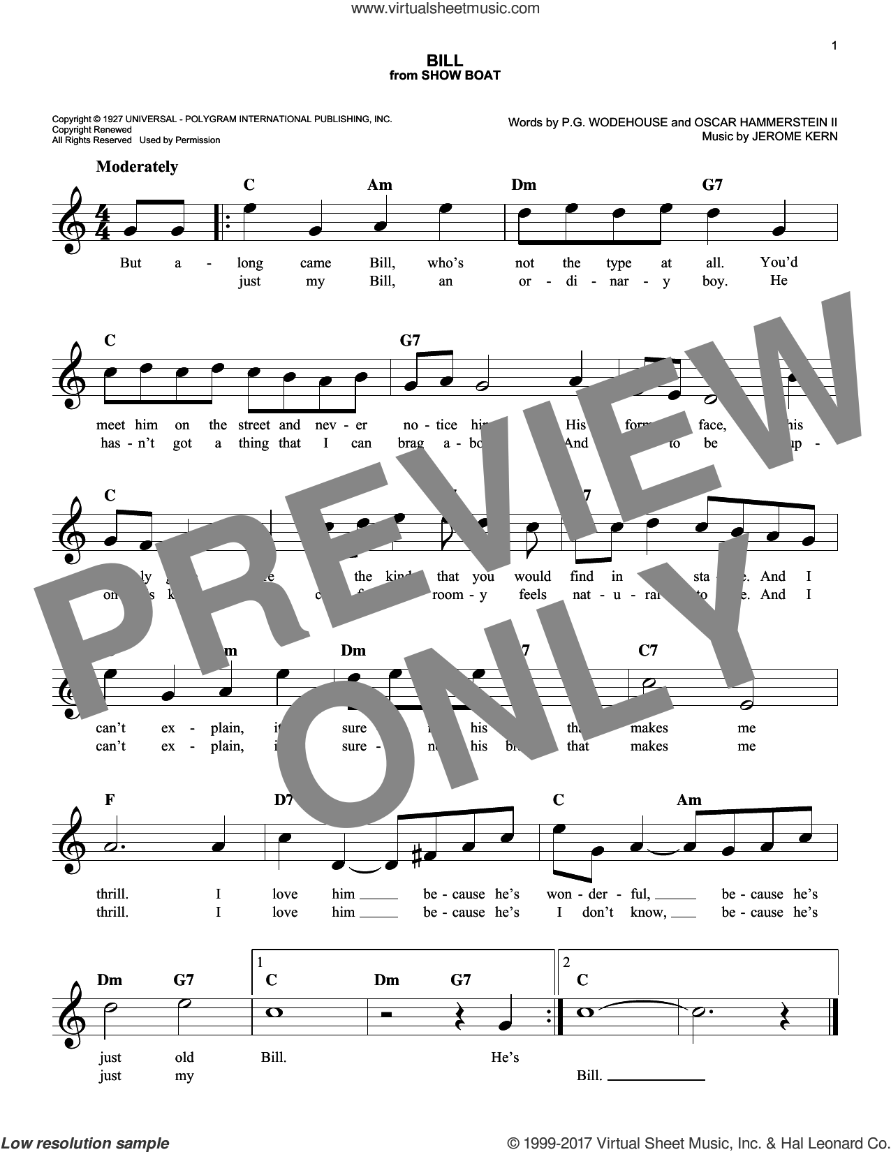 Bill sheet music for voice and other instruments (fake book) by Oscar II Hammerstein, Jerome Kern and P.G. Wodehouse, intermediate skill level