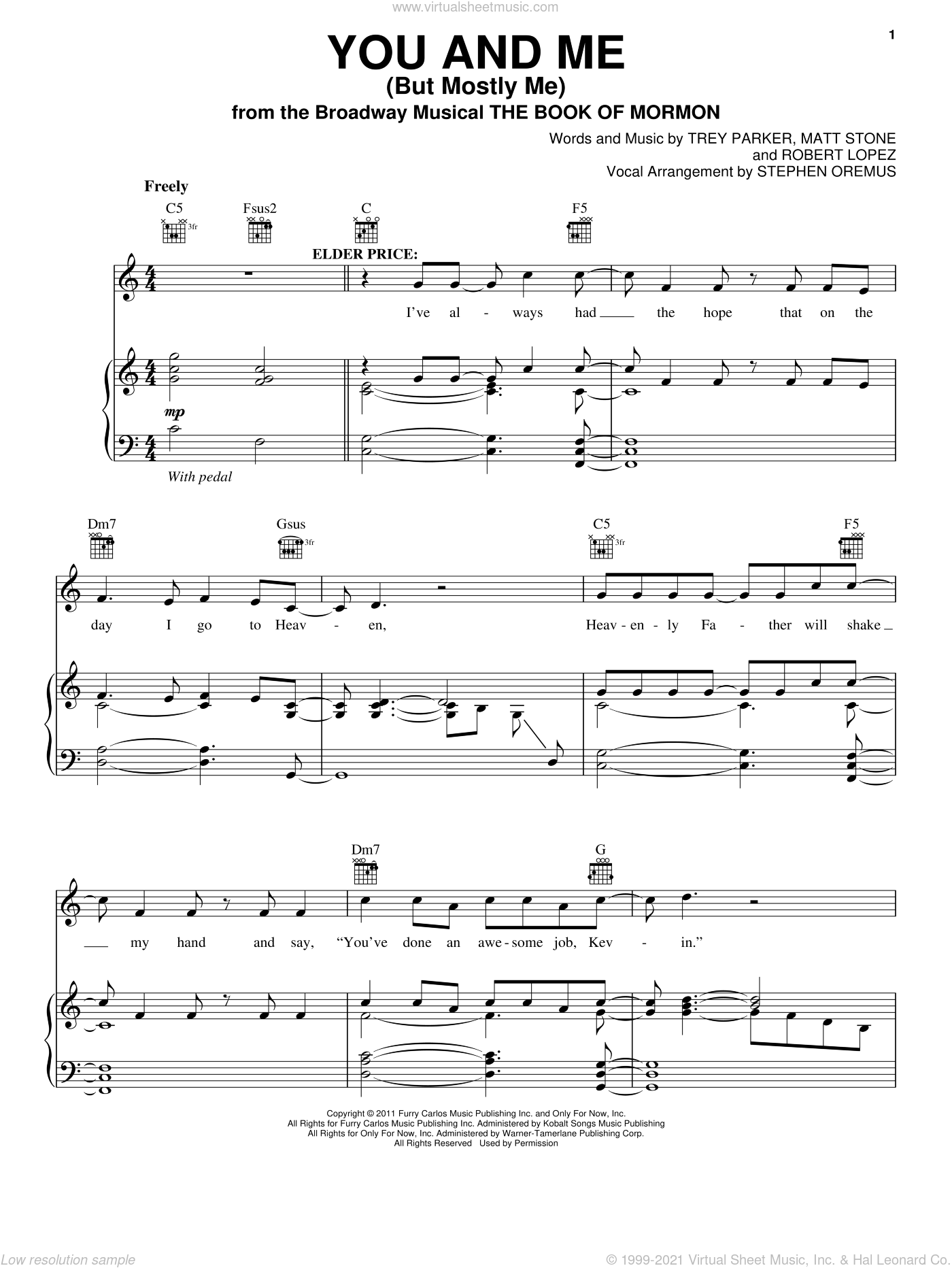 You And Me (But Mostly Me) sheet music for voice, piano or guitar by Robert Lopez, Matt Stone and Trey Parker, intermediate skill level