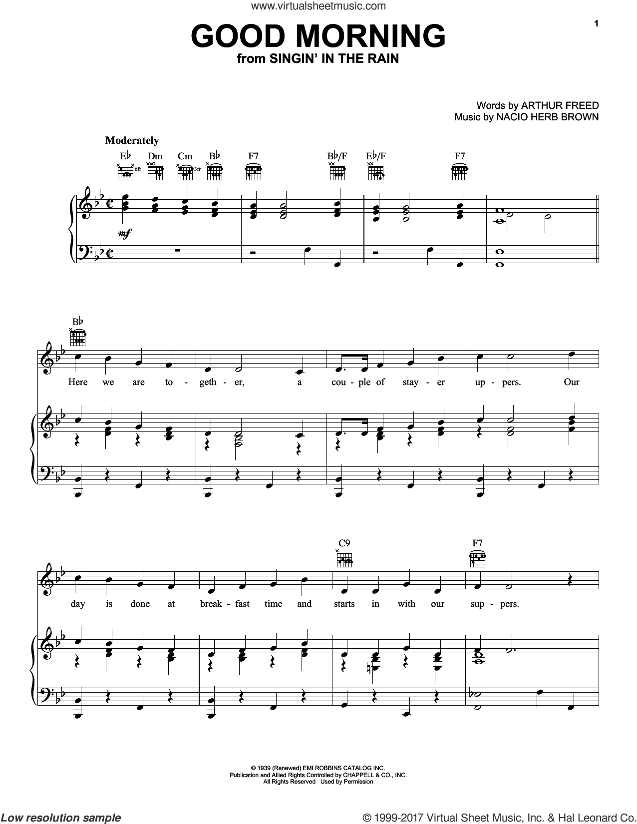 Good Morning sheet music for voice, piano or guitar by Arthur Freed and Nacio Herb Brown. Score Image Preview.