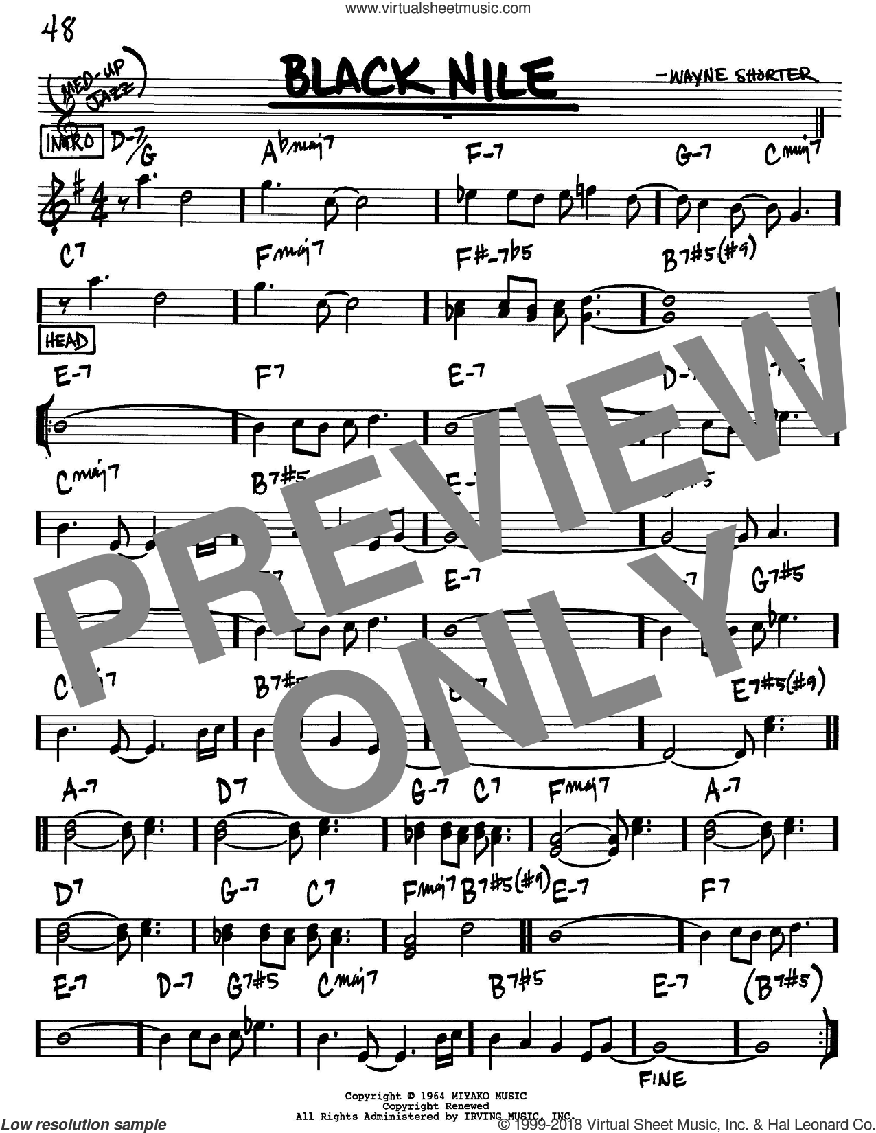 Black Nile sheet music for voice and other instruments (Bb) by Wayne Shorter. Score Image Preview.