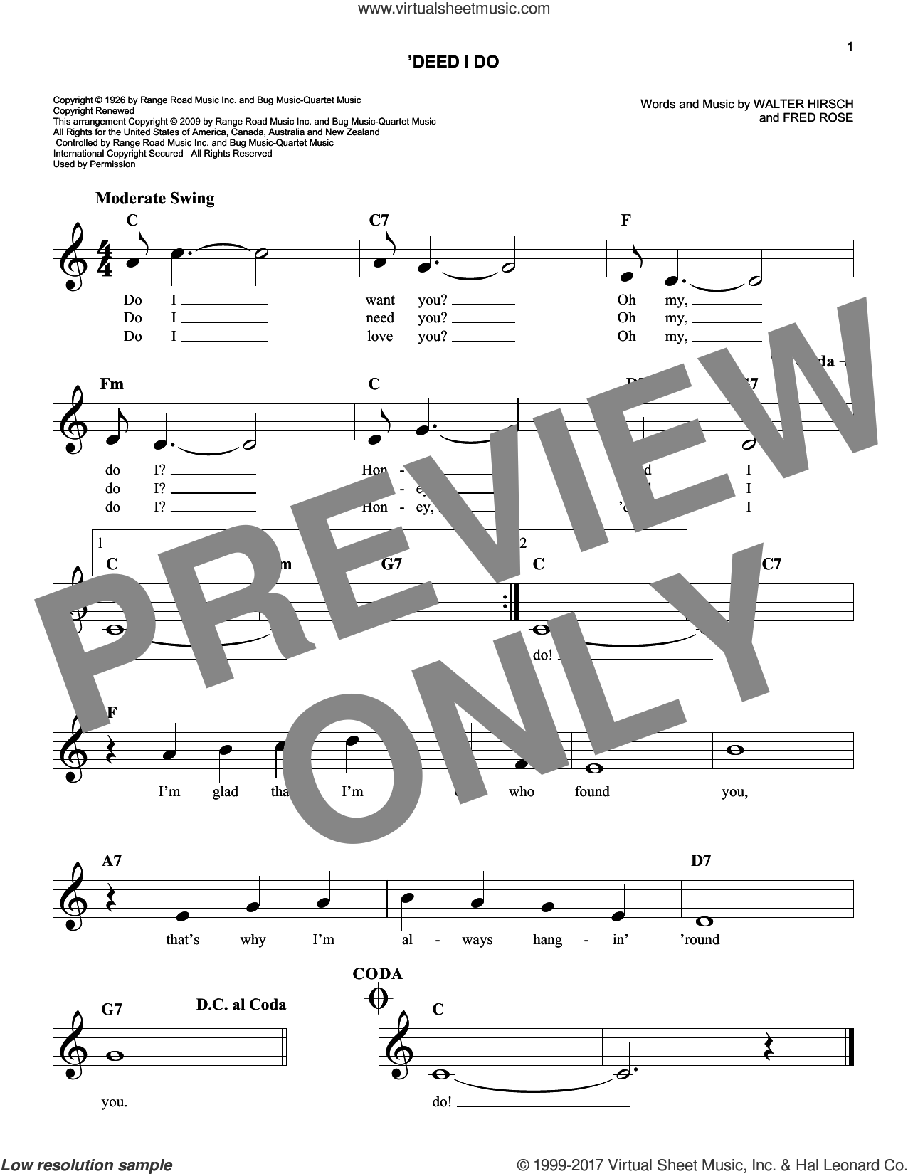 'Deed I Do sheet music for voice and other instruments (fake book) by Fred Rose and Walter Hirsch, intermediate skill level