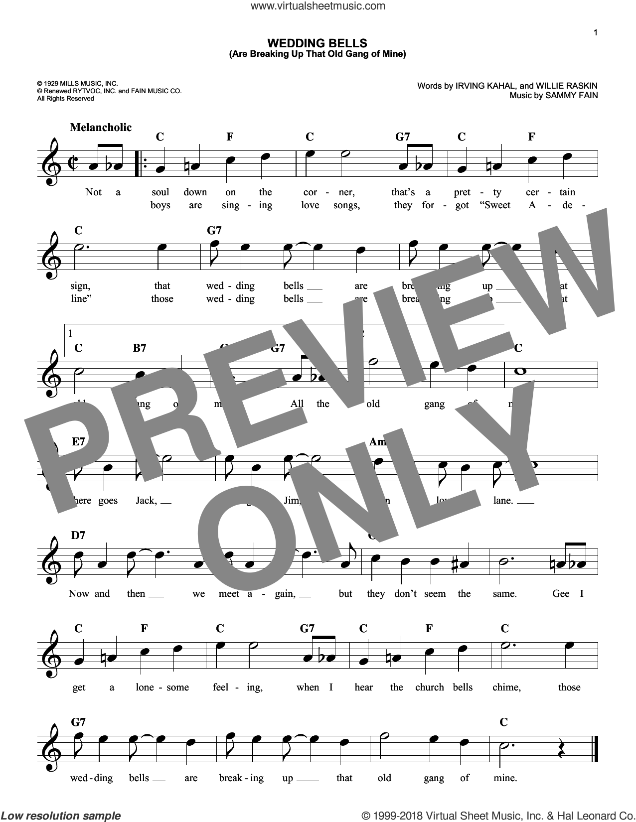 Wedding Bells (Are Breaking Up That Old Gang Of Mine) sheet music for voice and other instruments (fake book) by Sammy Fain, Irving Kahal and Willie Raskin, intermediate skill level