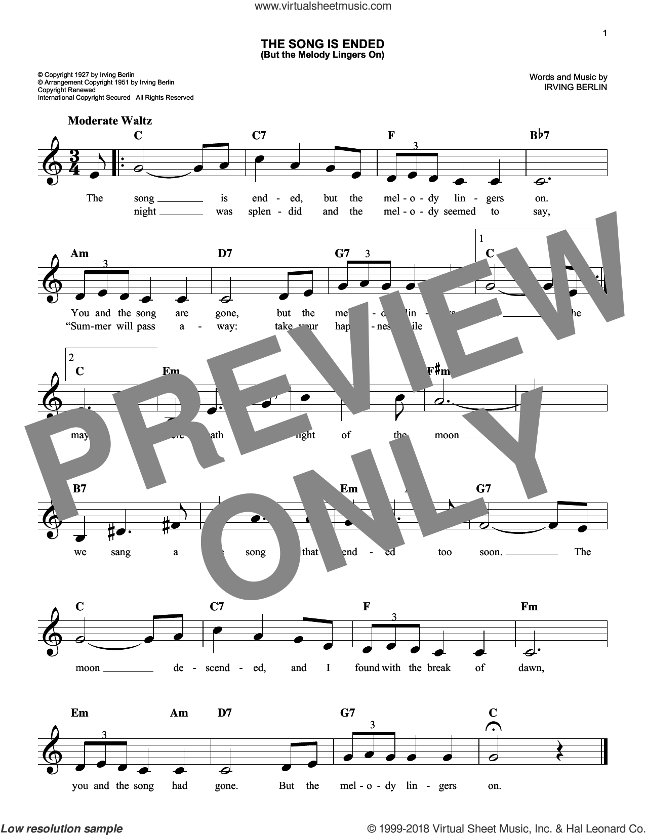 The Song Is Ended (But The Melody Lingers On) sheet music for voice and other instruments (fake book) by Irving Berlin, intermediate skill level