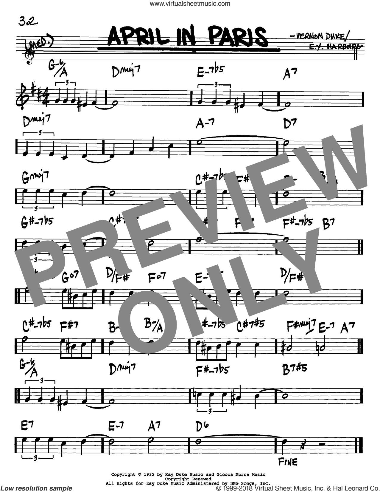 April In Paris sheet music for voice and other instruments (Bb) by Vernon Duke, Count Basie and E.Y. Harburg. Score Image Preview.