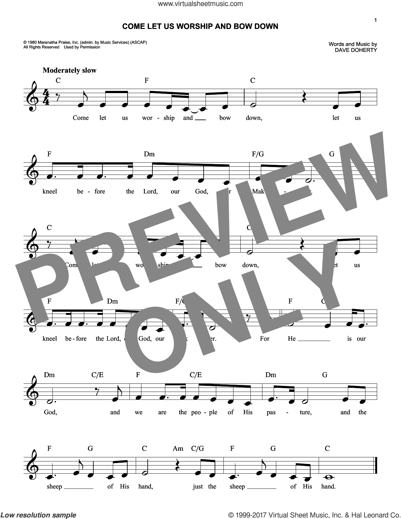 Come Let Us Worship And Bow Down sheet music for voice and other instruments (fake book) by Dave Doherty, intermediate skill level