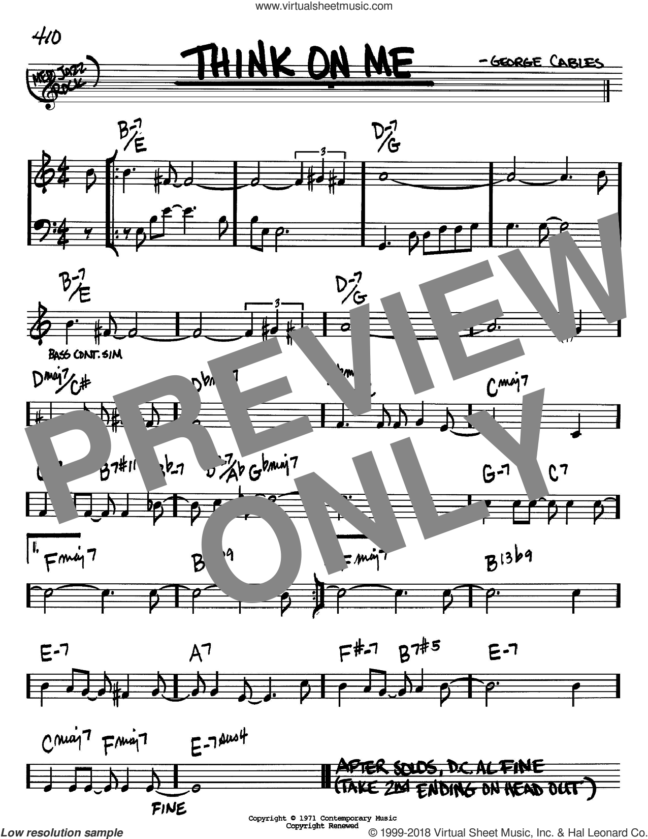 Think On Me sheet music for voice and other instruments (Bb) by George Cables