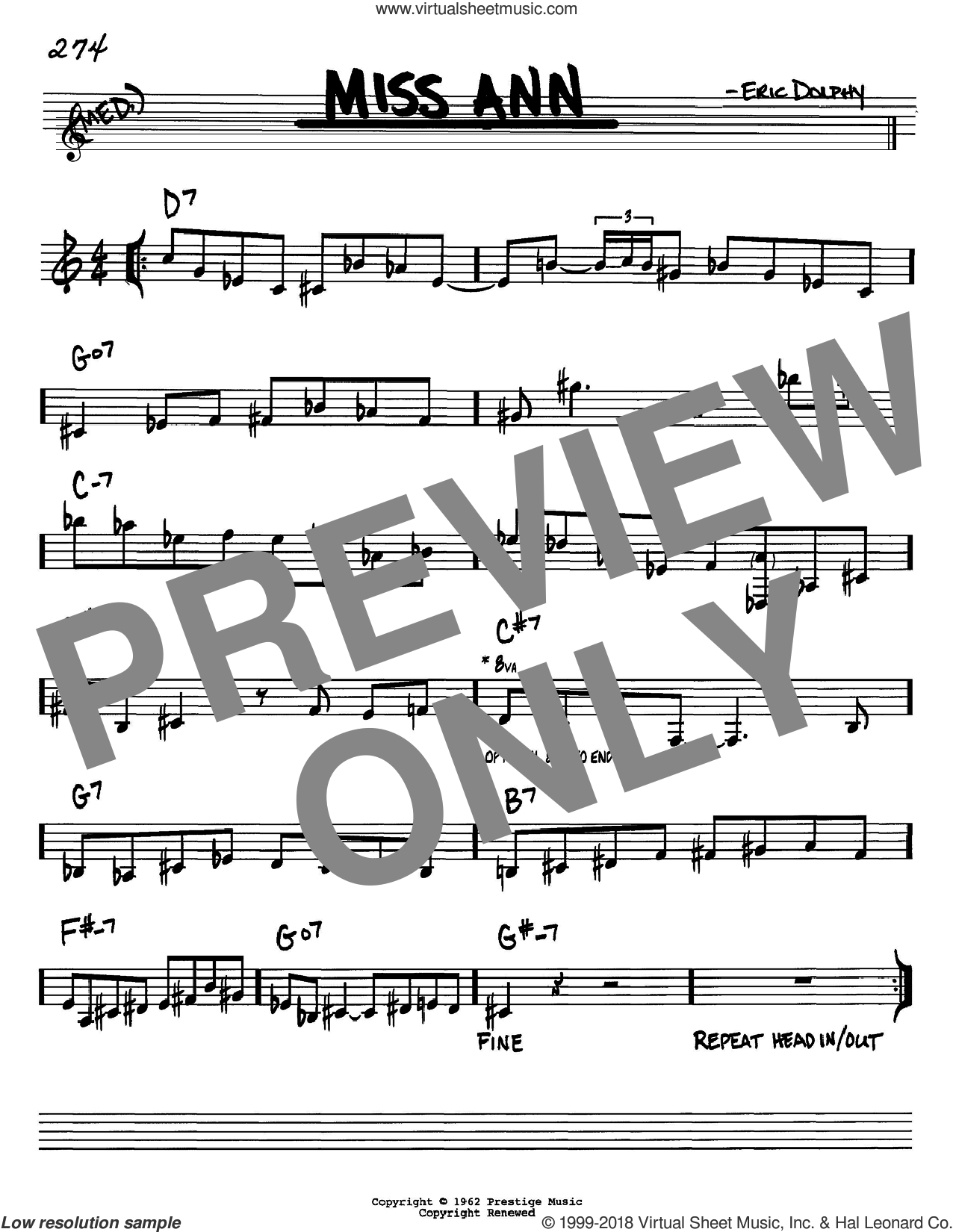 Miss Ann sheet music for voice and other instruments (Bb) by Eric Dolphy. Score Image Preview.