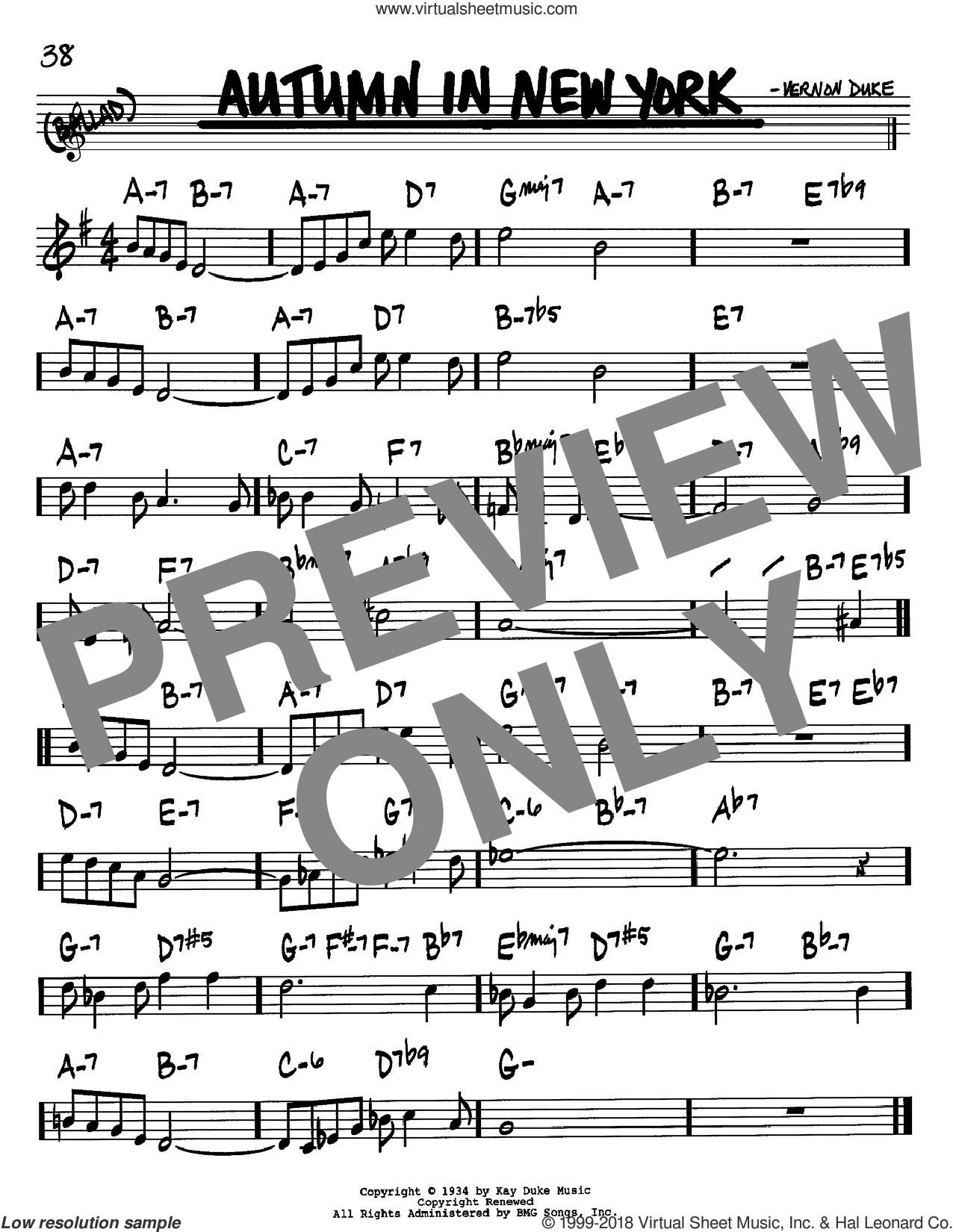 Autumn In New York sheet music for voice and other instruments (Bb) by Vernon Duke and Bud Powell