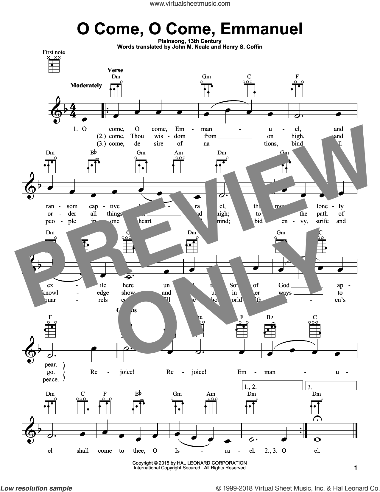 O Come, O Come Immanuel sheet music for ukulele by Plainsong, 13th Century, Henry S. Coffin (trans.) and John M. Neale (trans), intermediate skill level