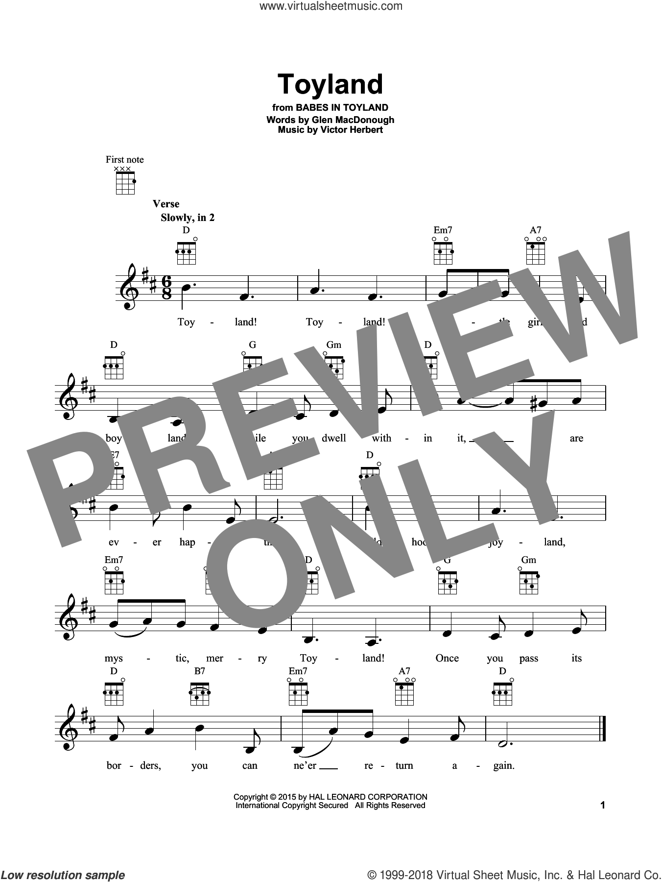Toyland sheet music for ukulele by Victor Herbert and Glen MacDonough, intermediate