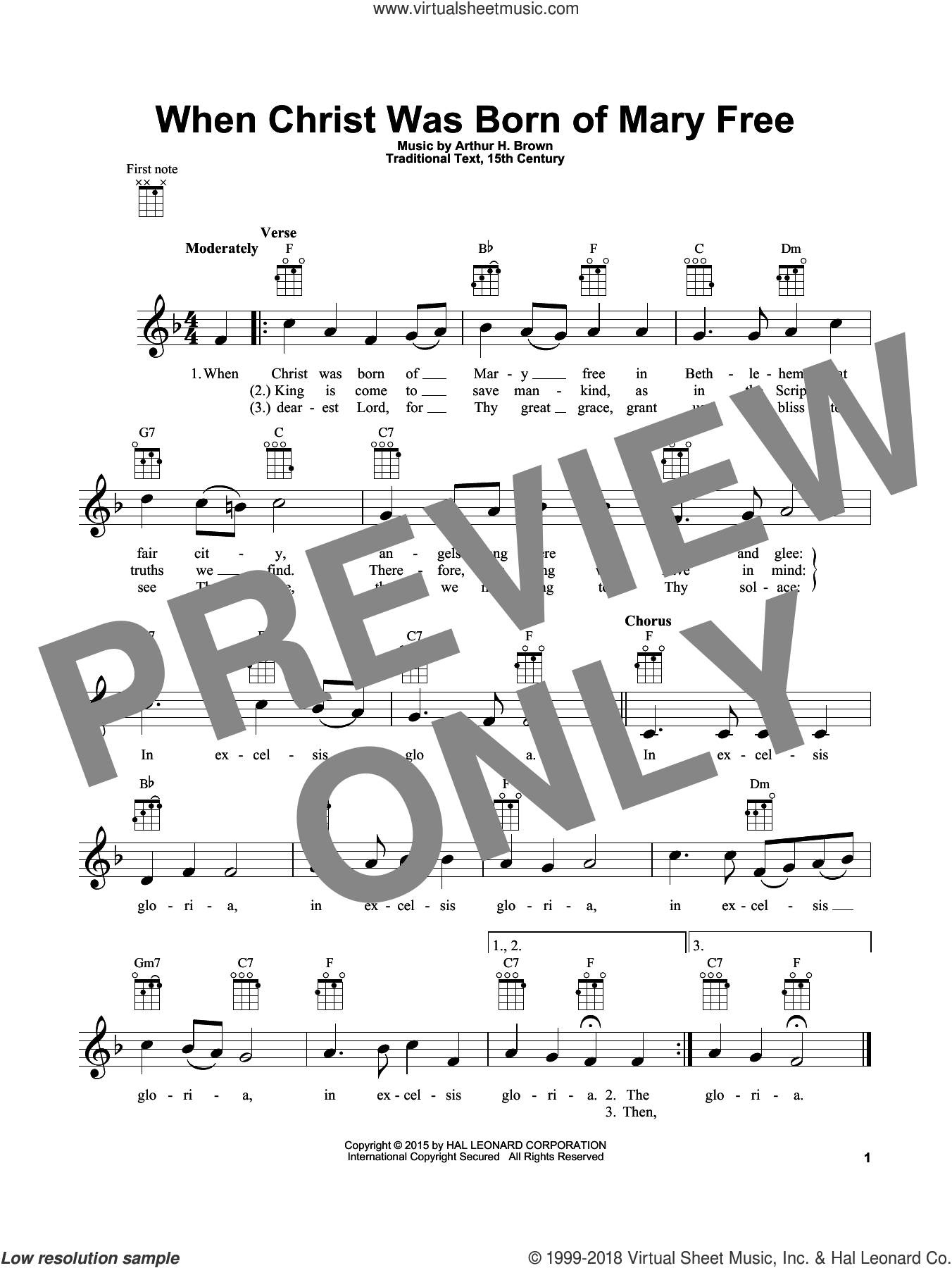 When Christ Was Born Of Mary Free sheet music for ukulele by Arthur H. Brown, intermediate. Score Image Preview.