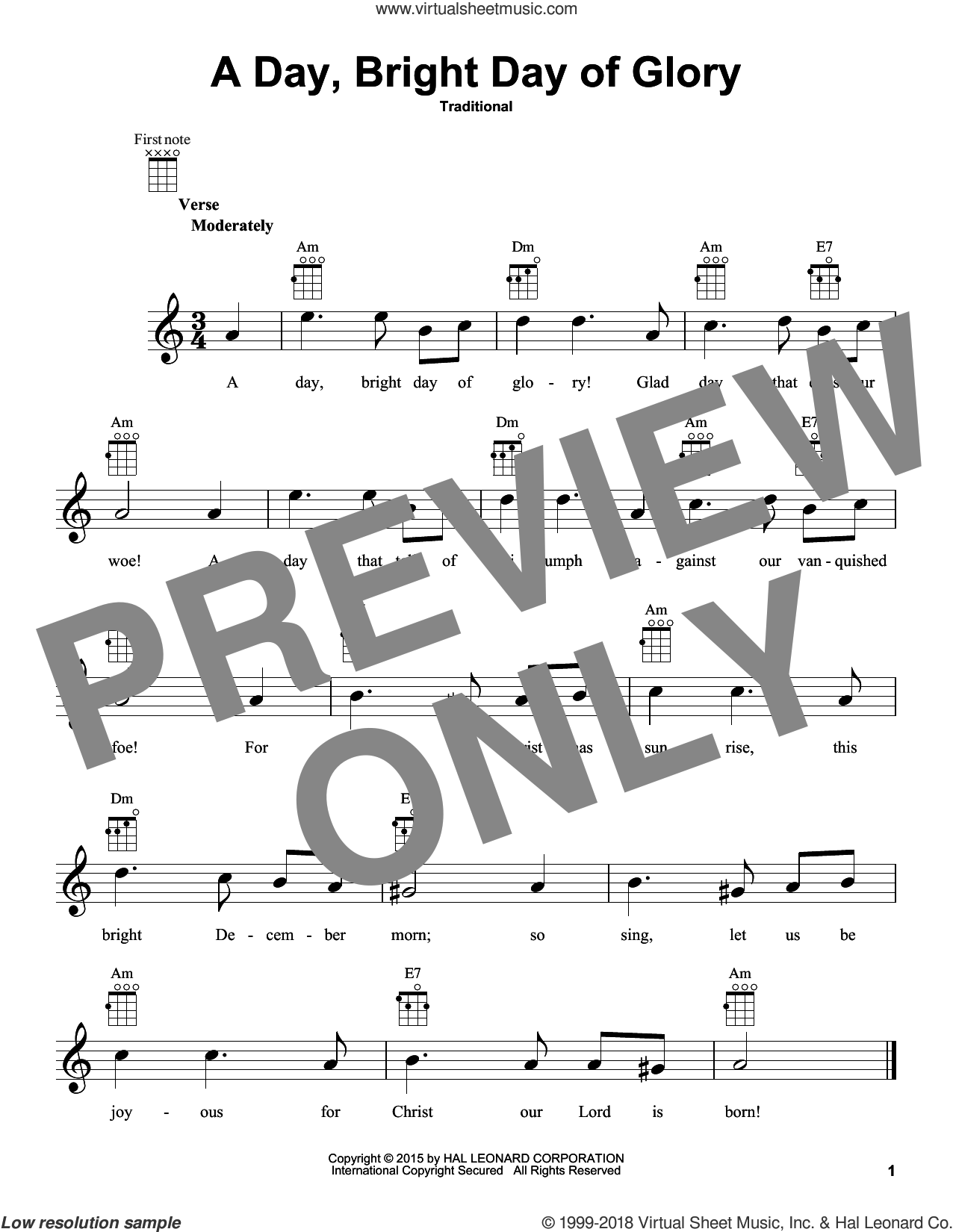 A Day, Bright Day Of Glory sheet music for ukulele, intermediate skill level