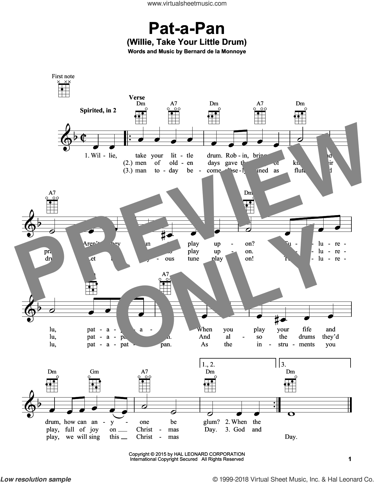 Pat-A-Pan (Willie, Take Your Little Drum) sheet music for ukulele by Bernard de la Monnoye, intermediate skill level