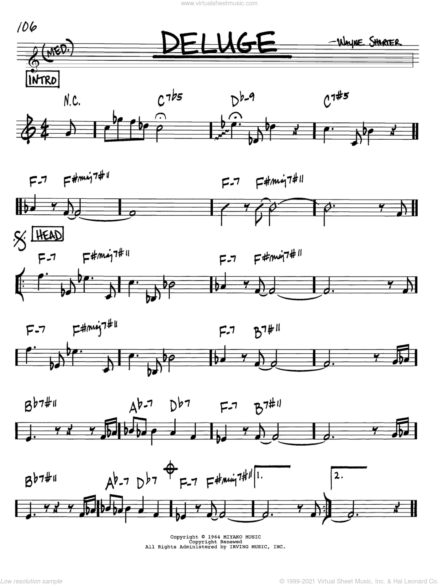 Deluge sheet music for voice and other instruments (Bb) by Wayne Shorter. Score Image Preview.
