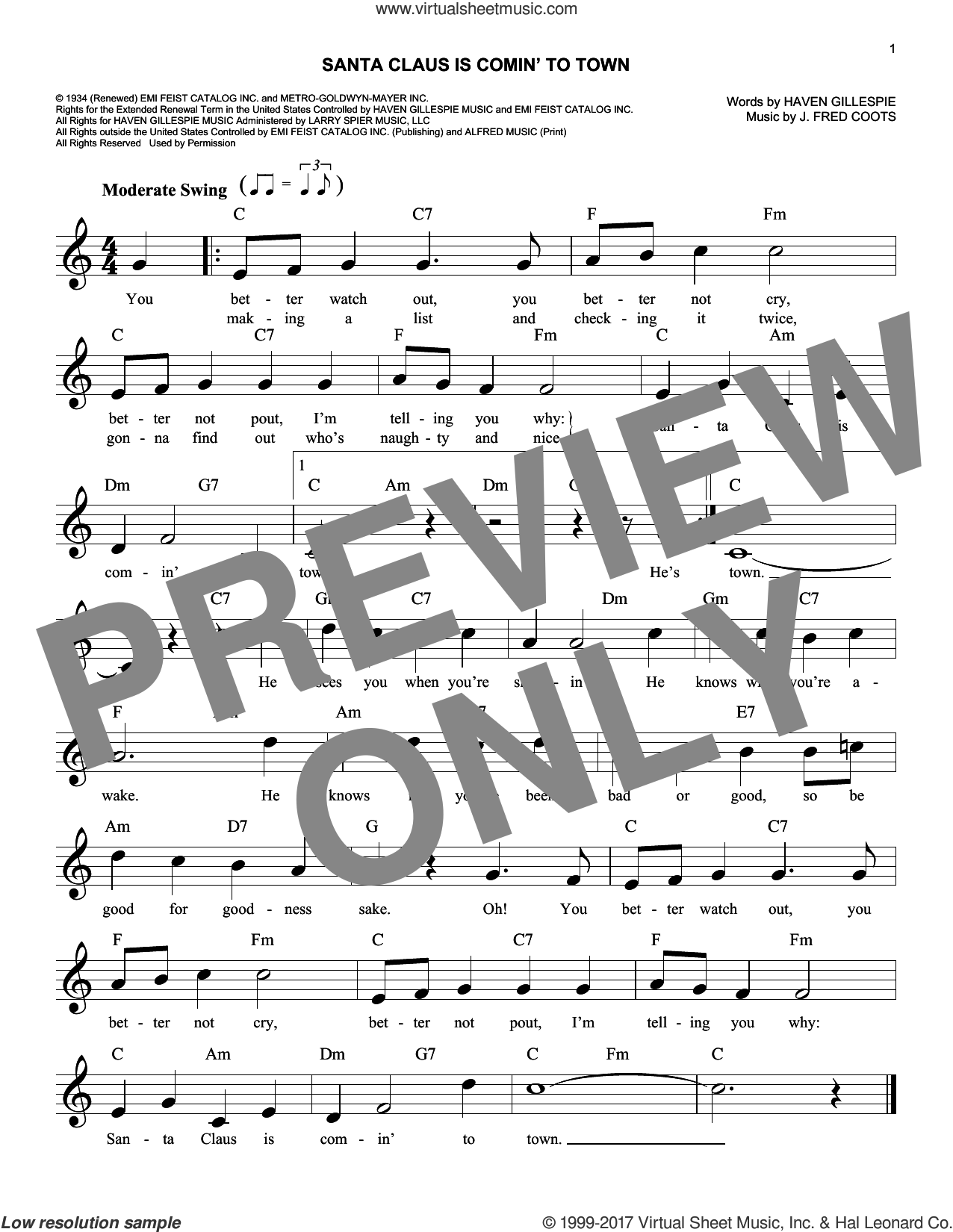 Santa Claus Is Comin' To Town sheet music for voice and other instruments (fake book) by J. Fred Coots and Haven Gillespie, intermediate skill level