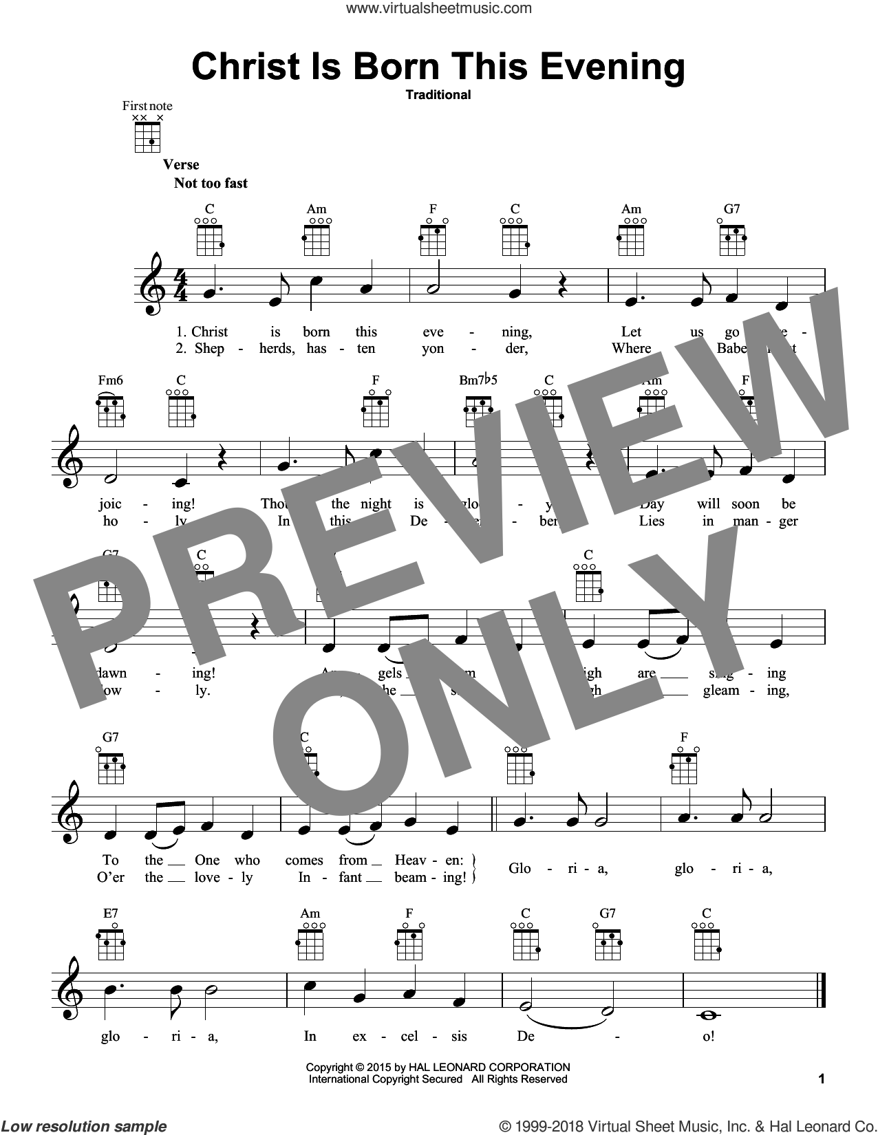 Christ Is Born This Evening sheet music for ukulele, intermediate skill level