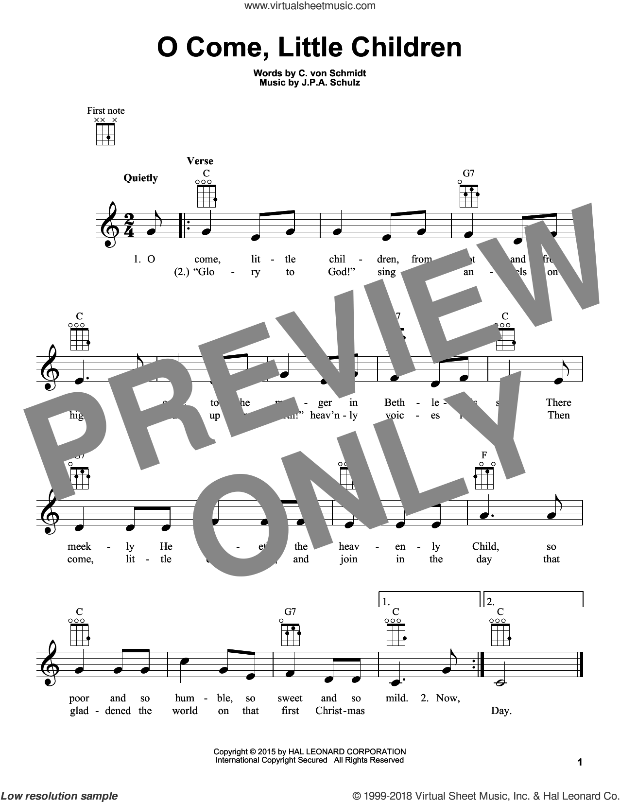 O Come, Little Children sheet music for ukulele by Cristoph Von Schmid and J.A.P. Schulz, intermediate. Score Image Preview.