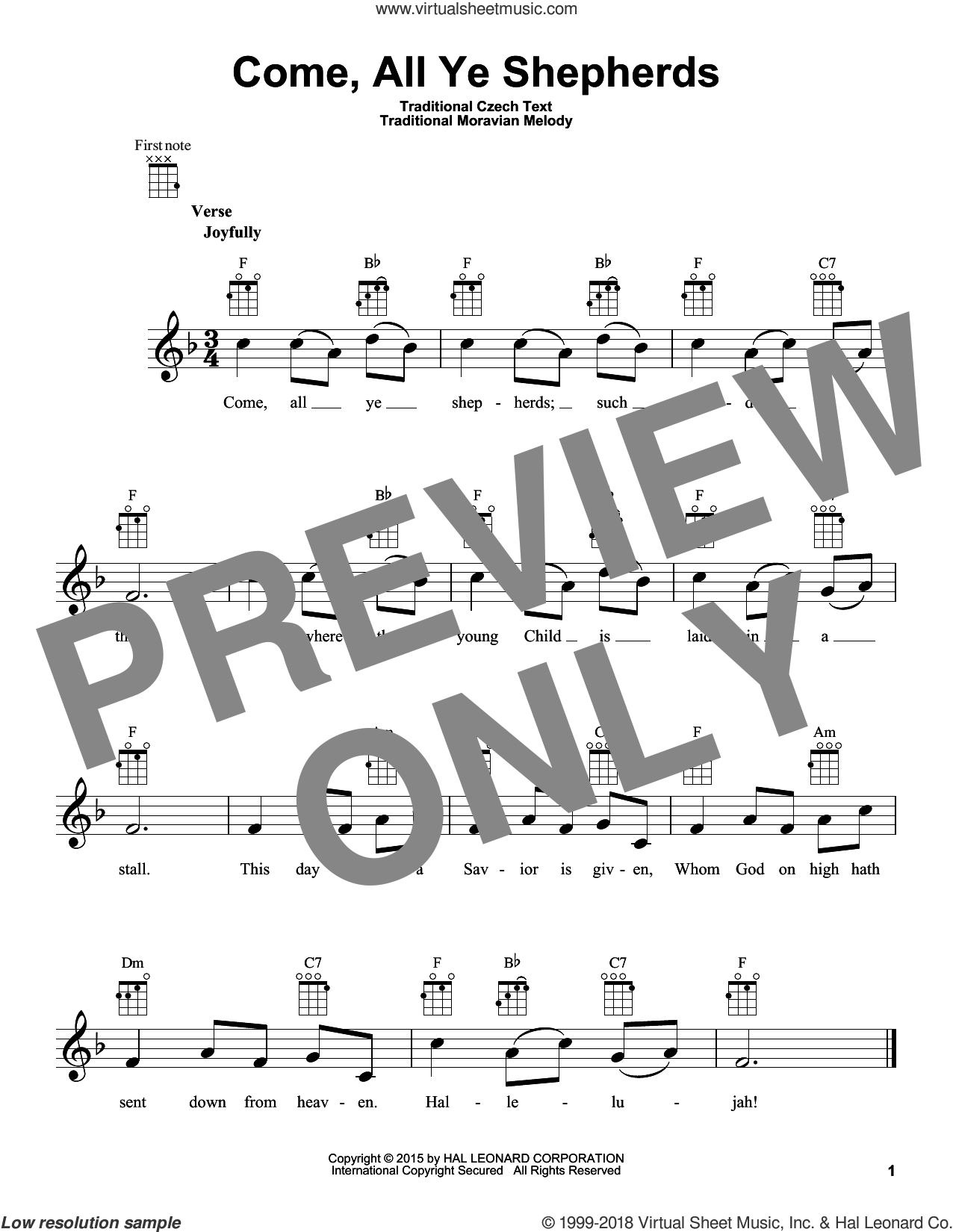 Come, All Ye Shepherds sheet music for ukulele. Score Image Preview.