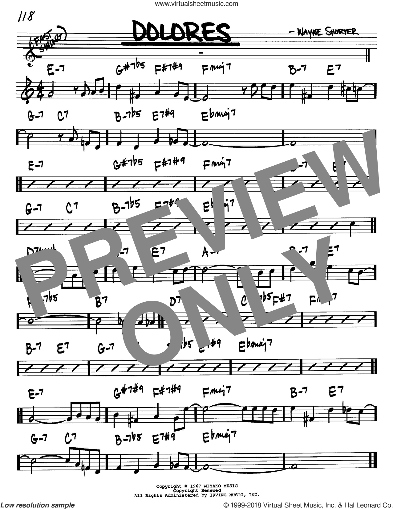 Dolores sheet music for voice and other instruments (Bb) by Wayne Shorter. Score Image Preview.