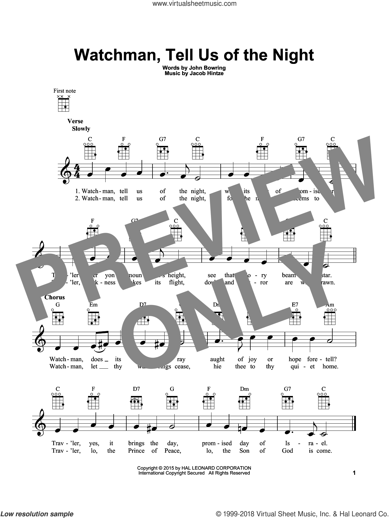Watchman, Tell Us Of The Night sheet music for ukulele by John Bowring and Jacob Hintze, intermediate skill level