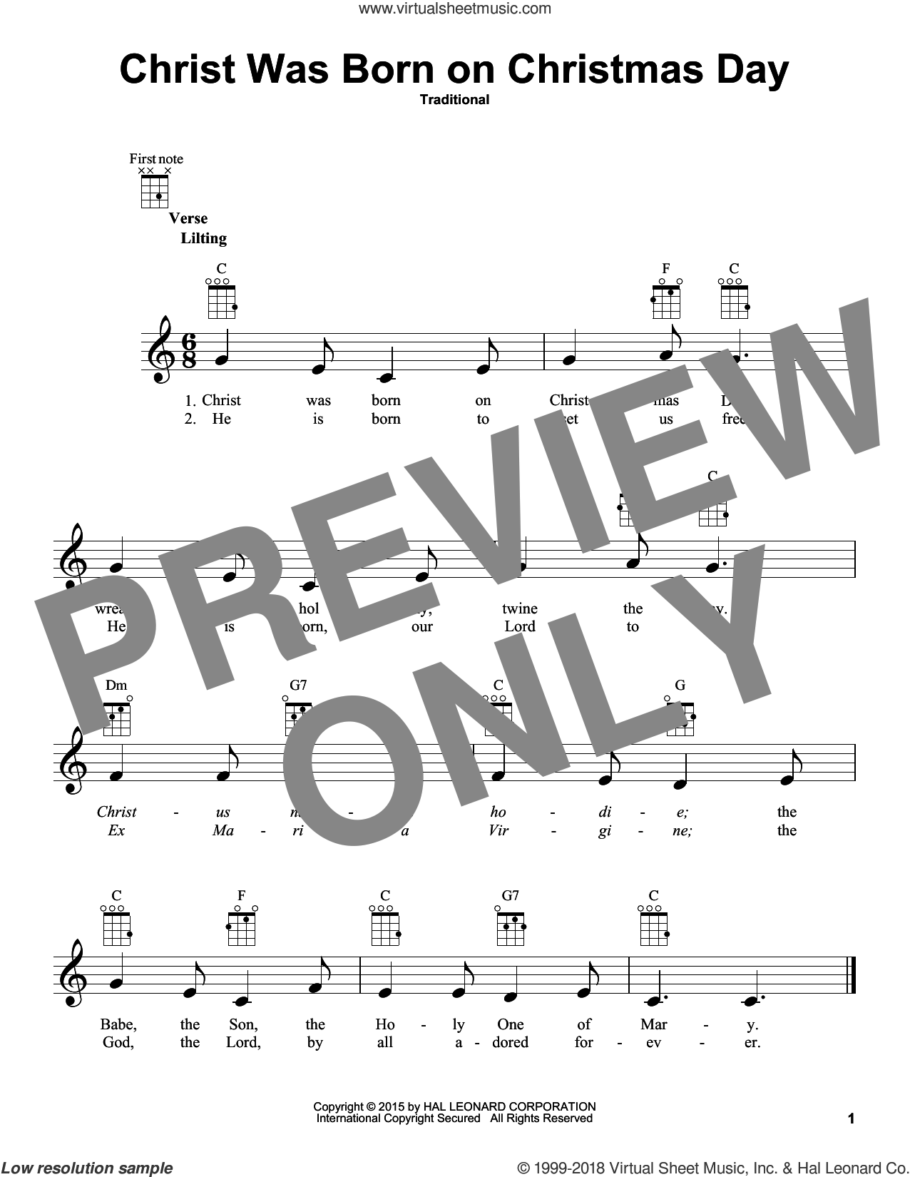 Christ Was Born On Christmas Day sheet music for ukulele, intermediate skill level