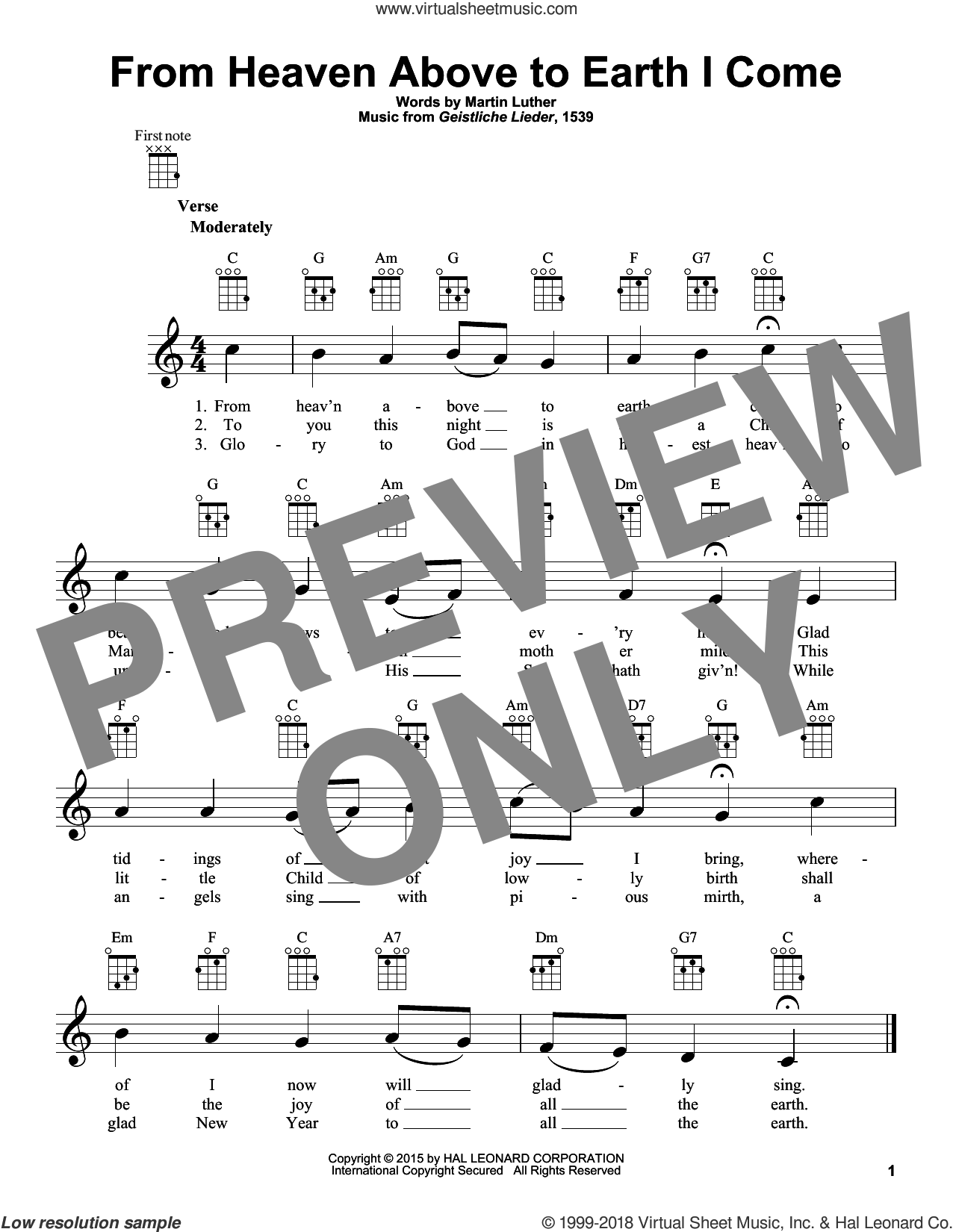 From Heaven Above To Earth I Come sheet music for ukulele by Martin Luther and Geistliche Lieder, intermediate skill level