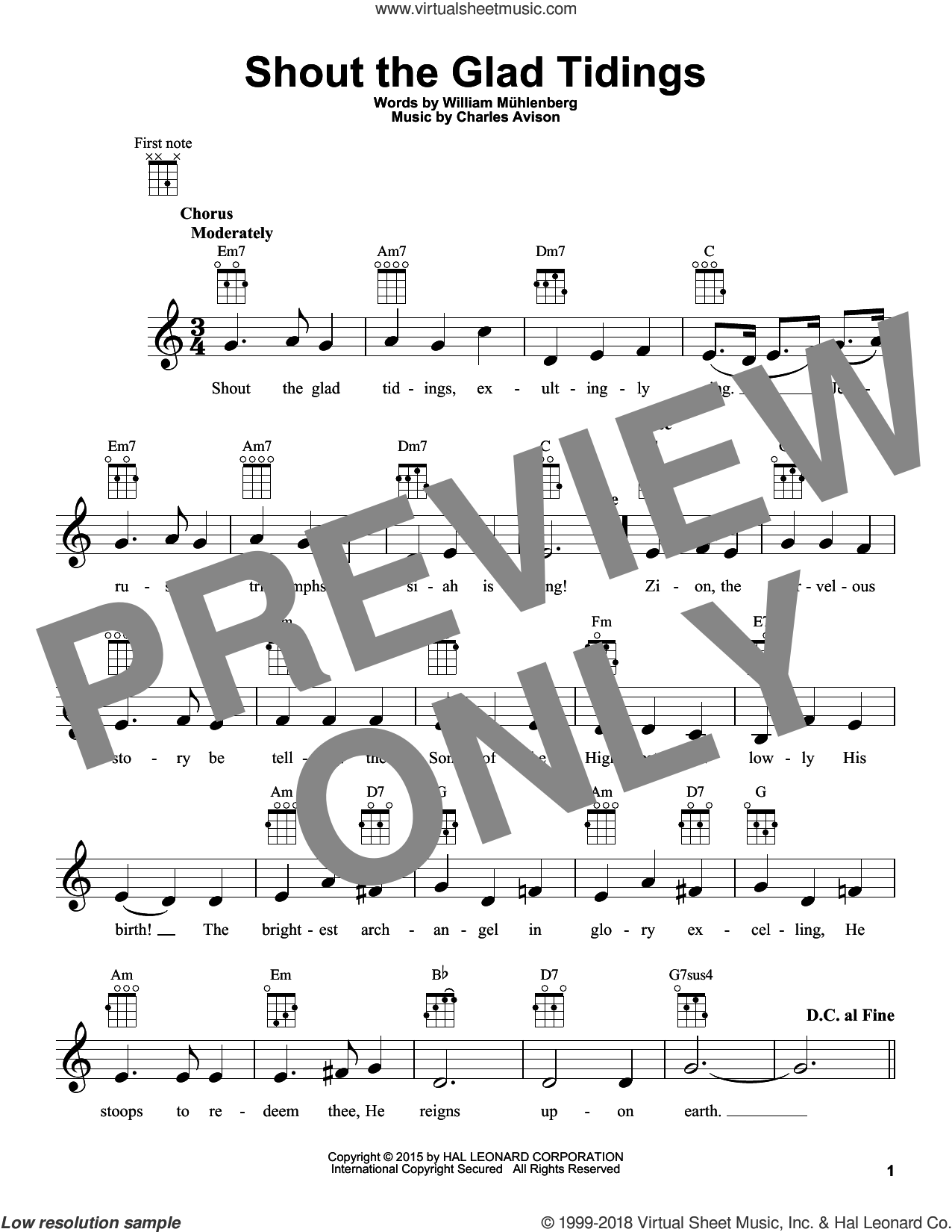 Shout The Glad Tidings sheet music for ukulele by William Mühlenberg and Charles Avison, intermediate skill level