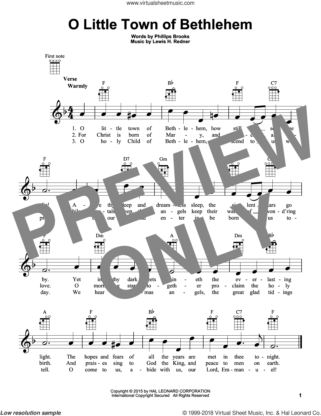 O Little Town Of Bethlehem sheet music for ukulele by Lewis Redner and Phillips Brooks, intermediate. Score Image Preview.