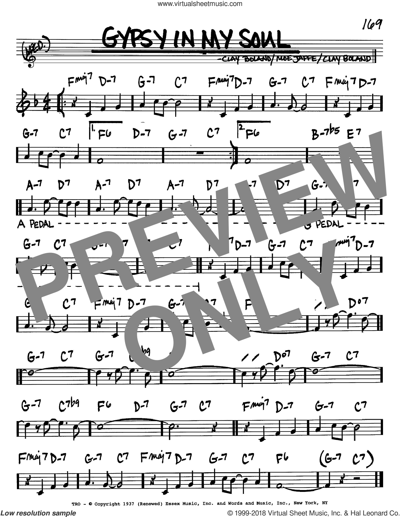 Gypsy In My Soul sheet music for voice and other instruments (Bb) by Clay Boland and Moe Jaffe. Score Image Preview.