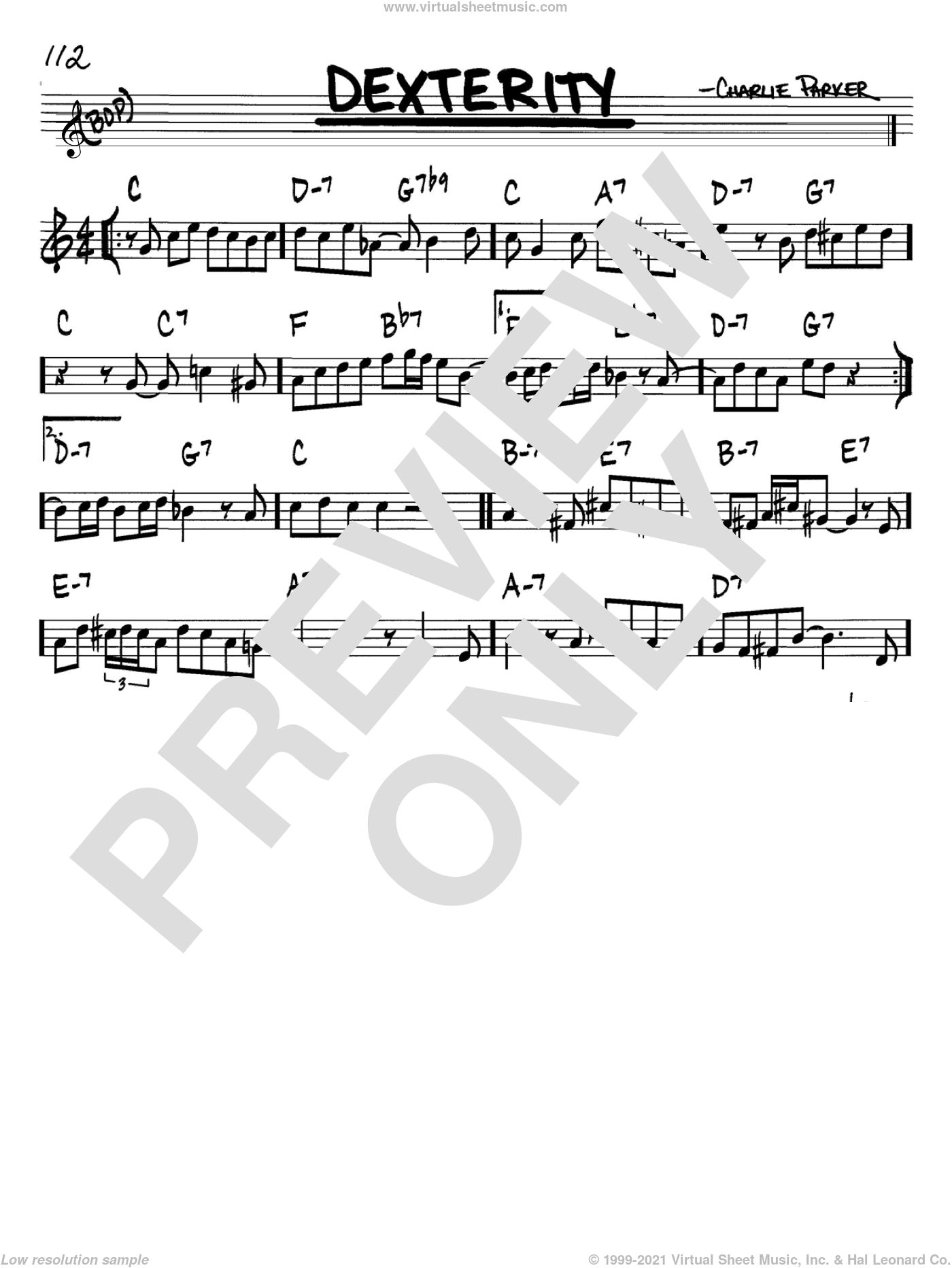 Dexterity sheet music for voice and other instruments (Bb) by Charlie Parker. Score Image Preview.