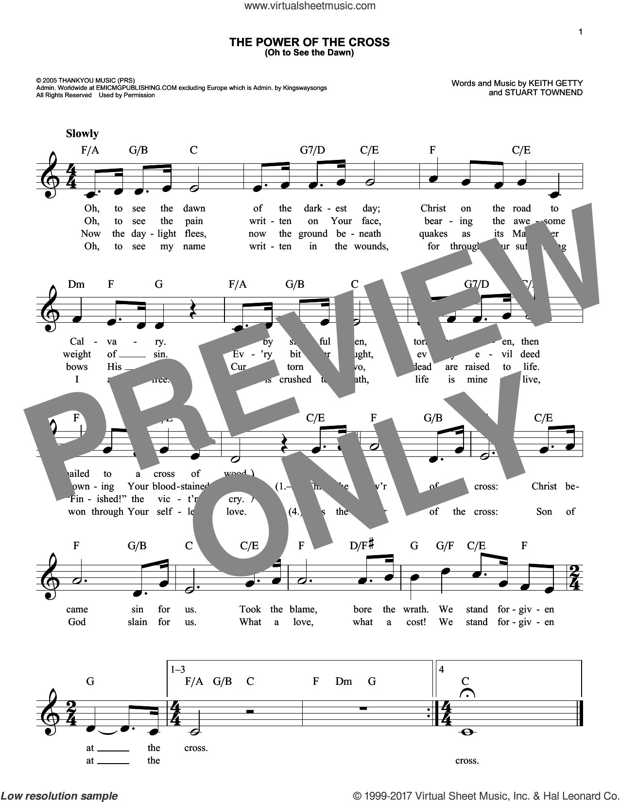 Getty The Power Of The Cross Oh To See The Dawn Sheet Music Fake Book