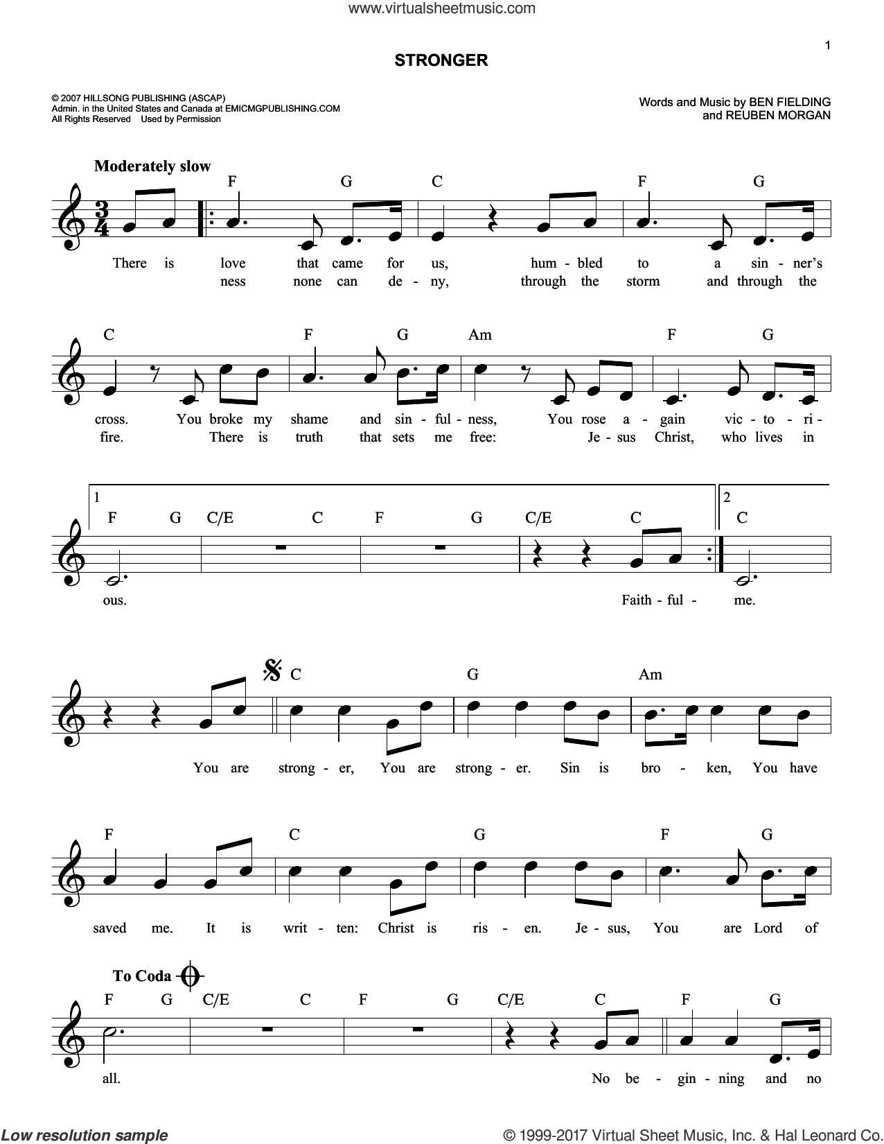 Stronger sheet music for voice and other instruments (fake book) by Reuben Morgan and Ben Fielding, intermediate skill level