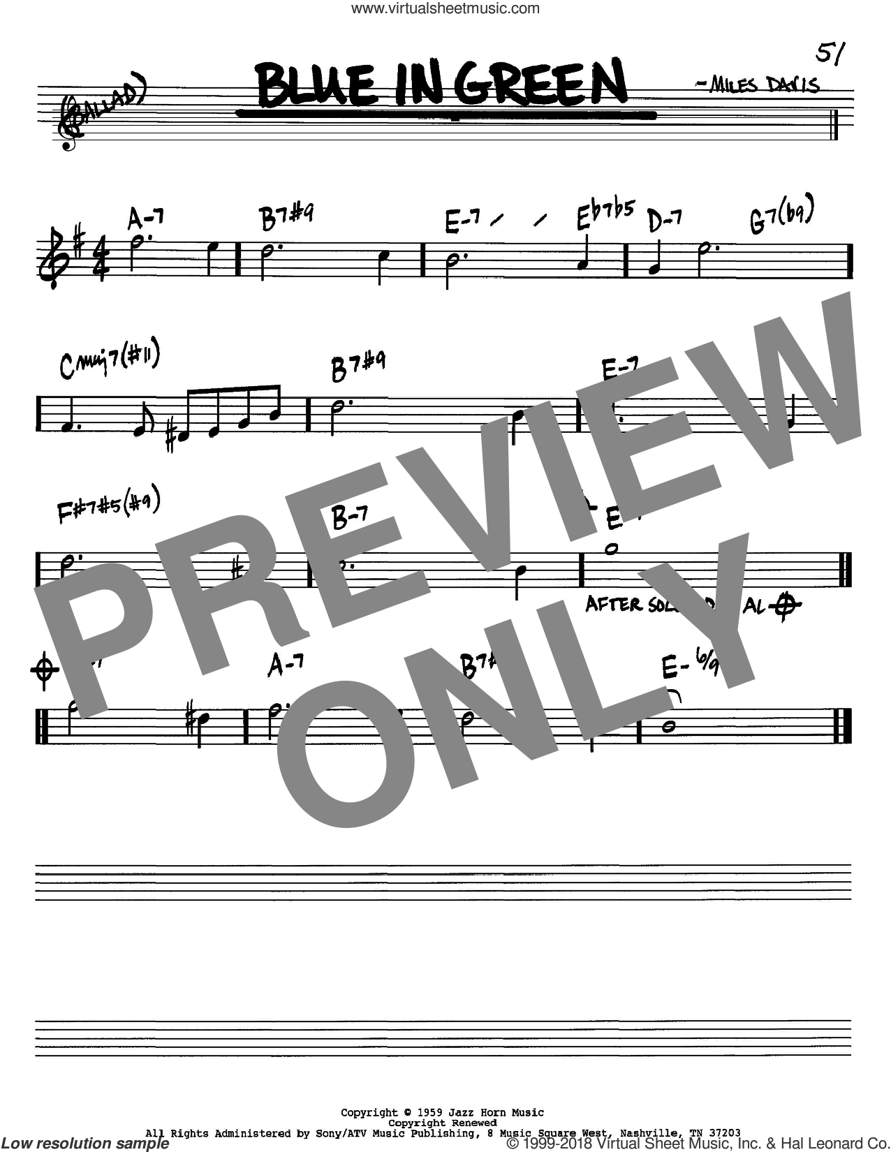 Blue In Green sheet music for voice and other instruments (in Bb) by Miles Davis, intermediate skill level