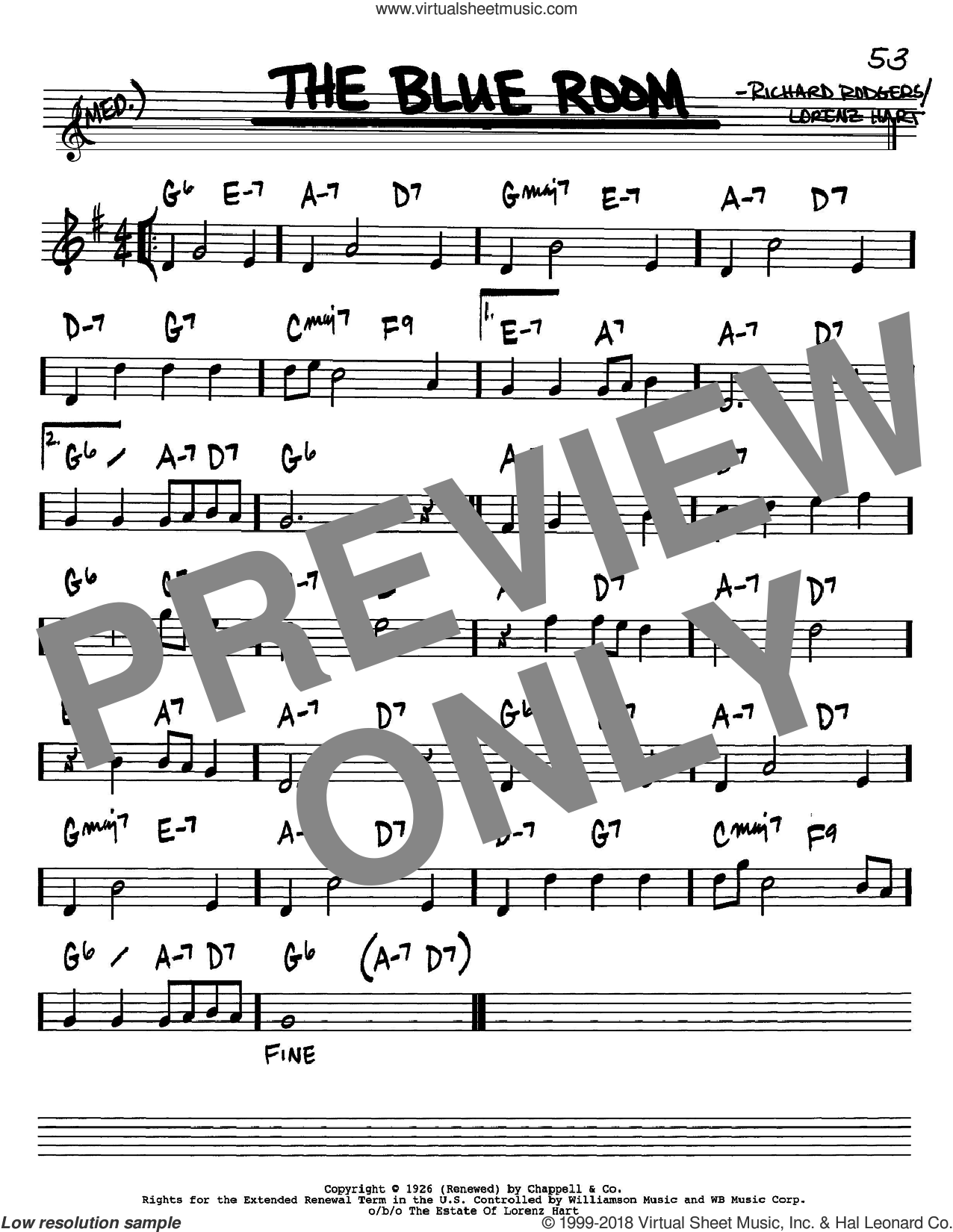 The Blue Room sheet music for voice and other instruments (in Bb) by Rodgers & Hart, Lorenz Hart and Richard Rodgers, intermediate. Score Image Preview.