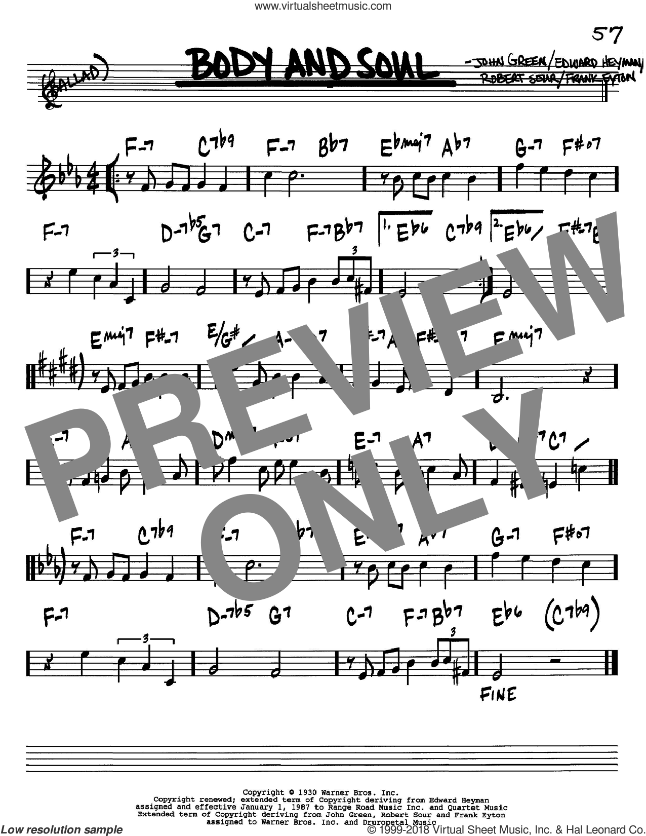 Body And Soul sheet music for voice and other instruments (Bb) by Robert Sour, Edward Heyman, Frank Eyton and Johnny Green. Score Image Preview.