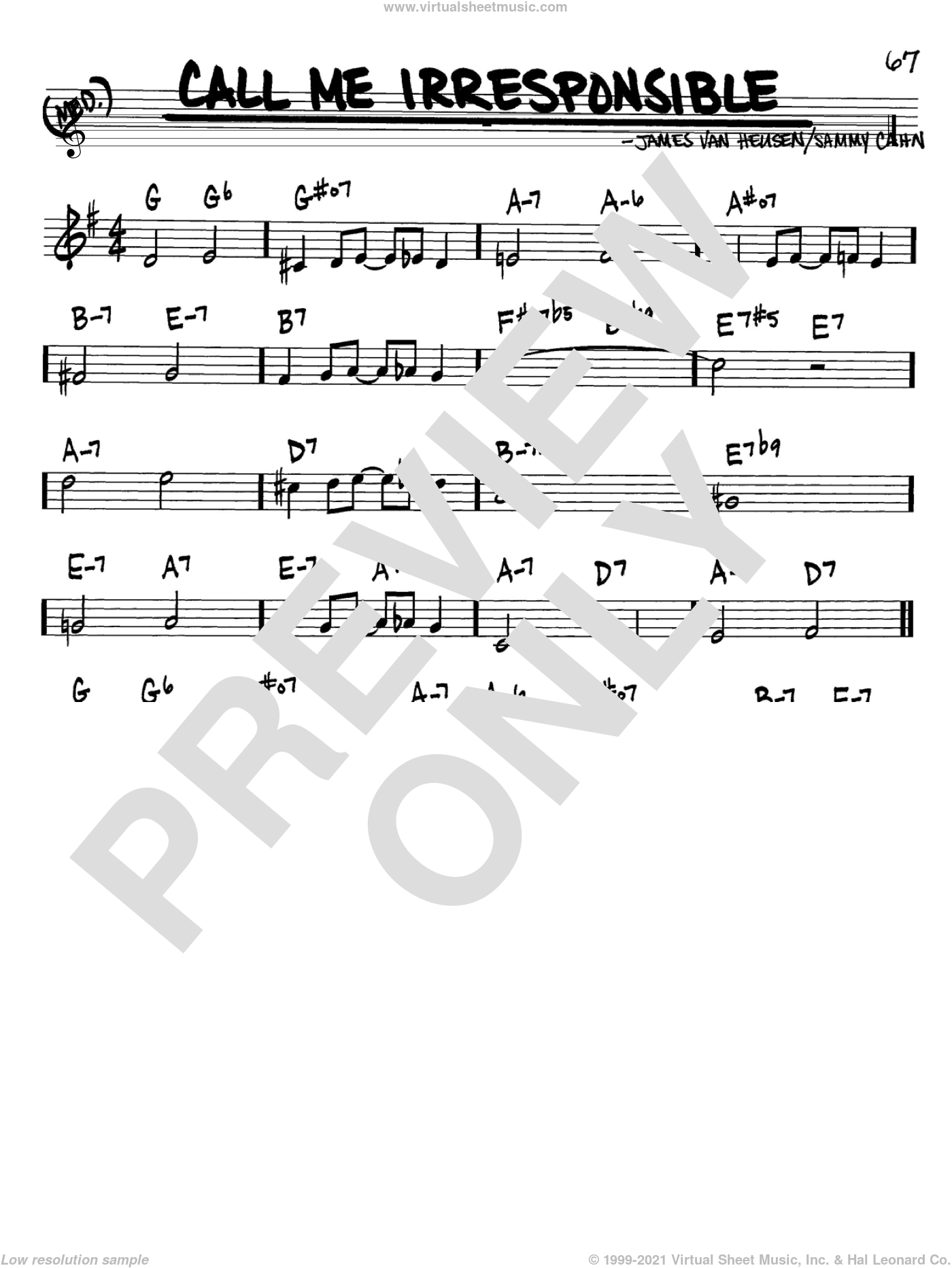 Call Me Irresponsible sheet music for voice and other instruments (Bb) by Sammy Cahn, Frank Sinatra and Jimmy van Heusen. Score Image Preview.