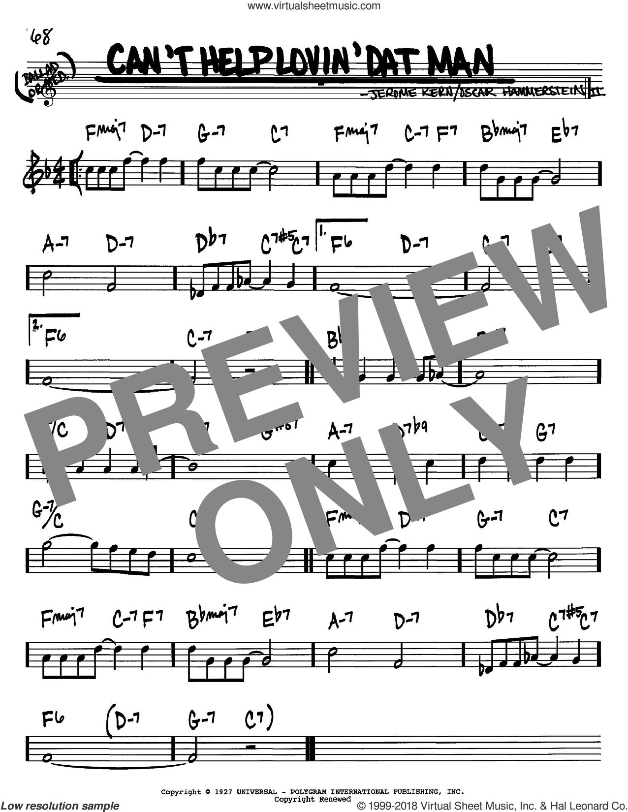 Can't Help Lovin' Dat Man sheet music for voice and other instruments (Bb) by Oscar II Hammerstein