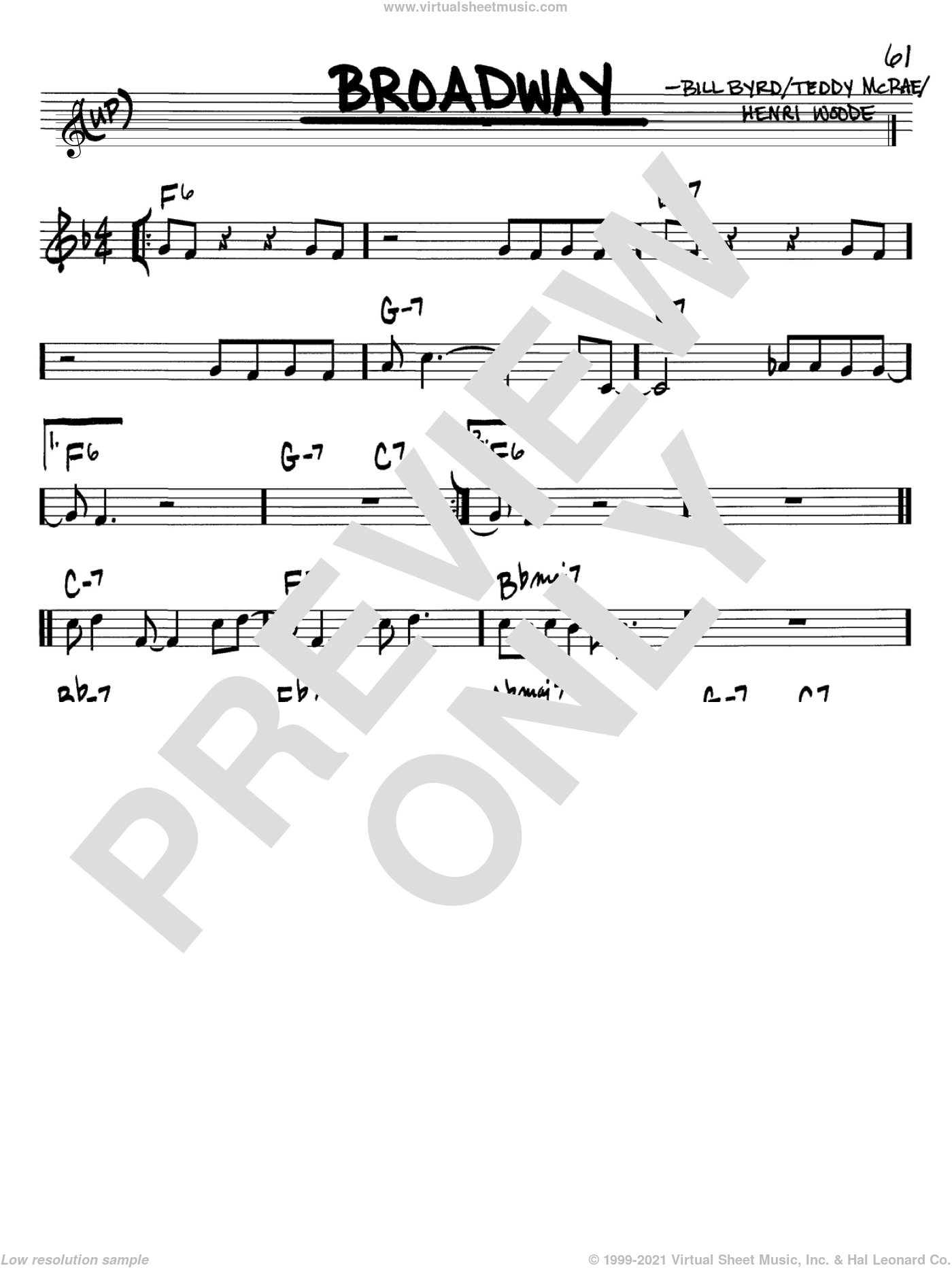 Broadway sheet music for voice and other instruments (Bb) by Teddy McRae, Count Basie and Henri Woode. Score Image Preview.